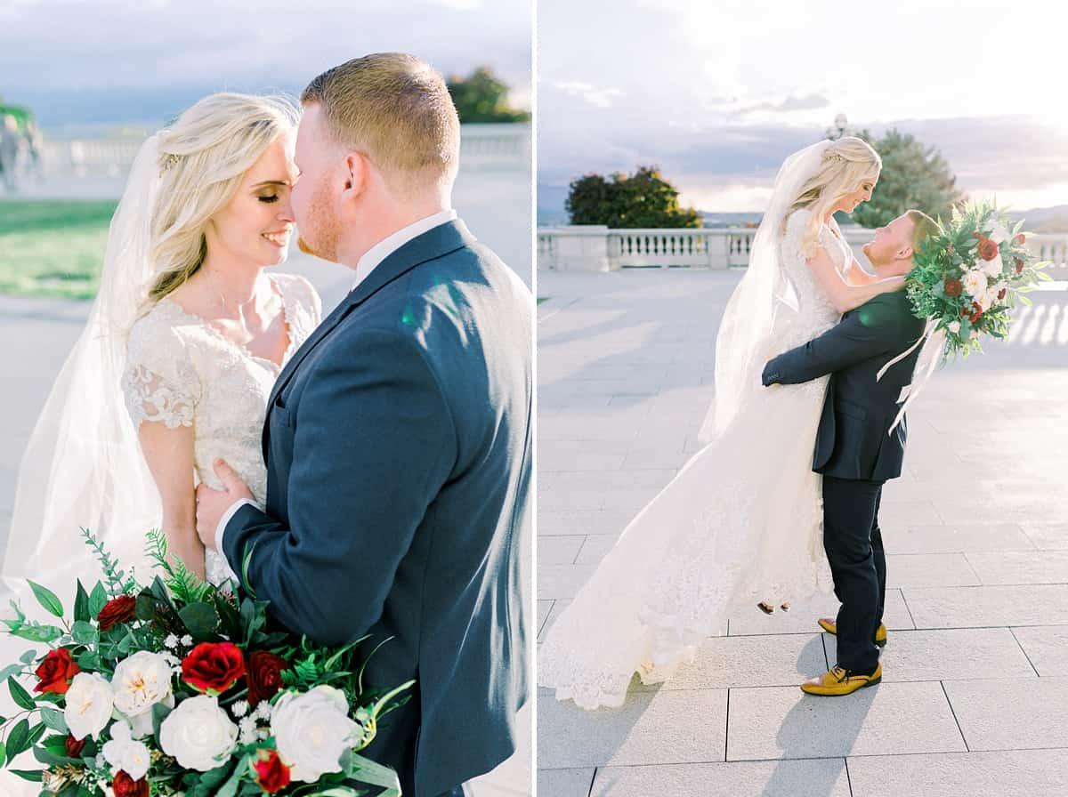 Spring film wedding photography, Utah bride and groom, modest wedding dress with long veil