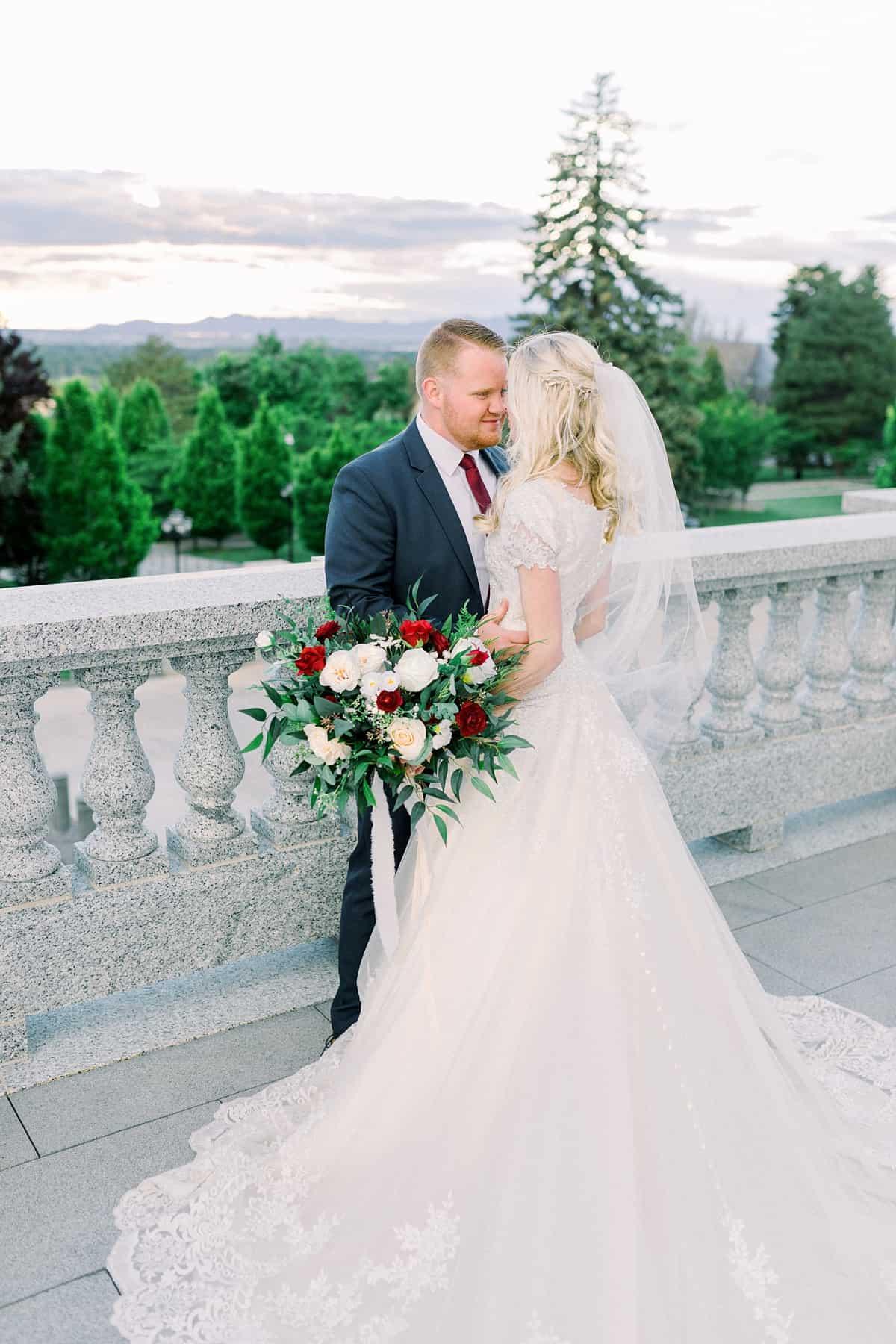 Bride and groom spring wedding, film wedding photography
