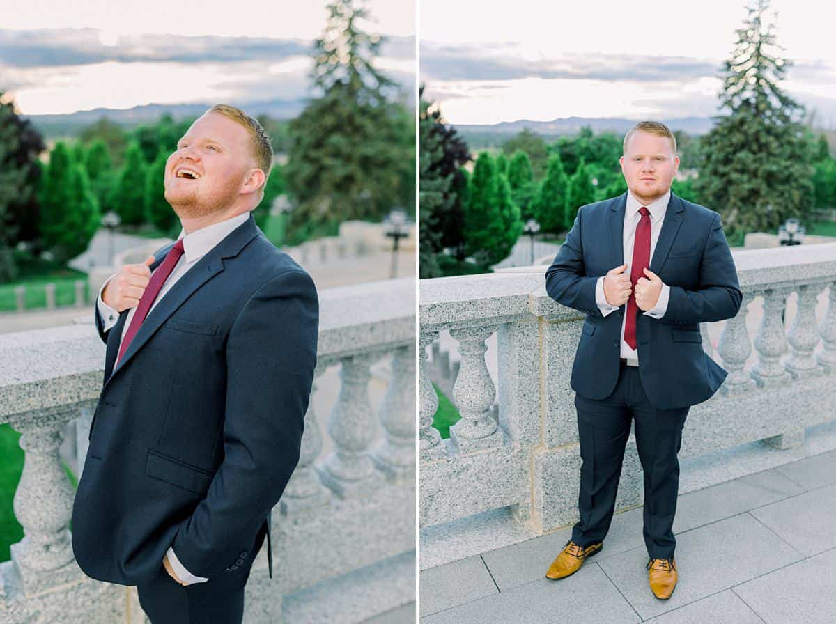Groom with navy suit blue gray suit. red tie, spring wedding, Utah film wedding photography