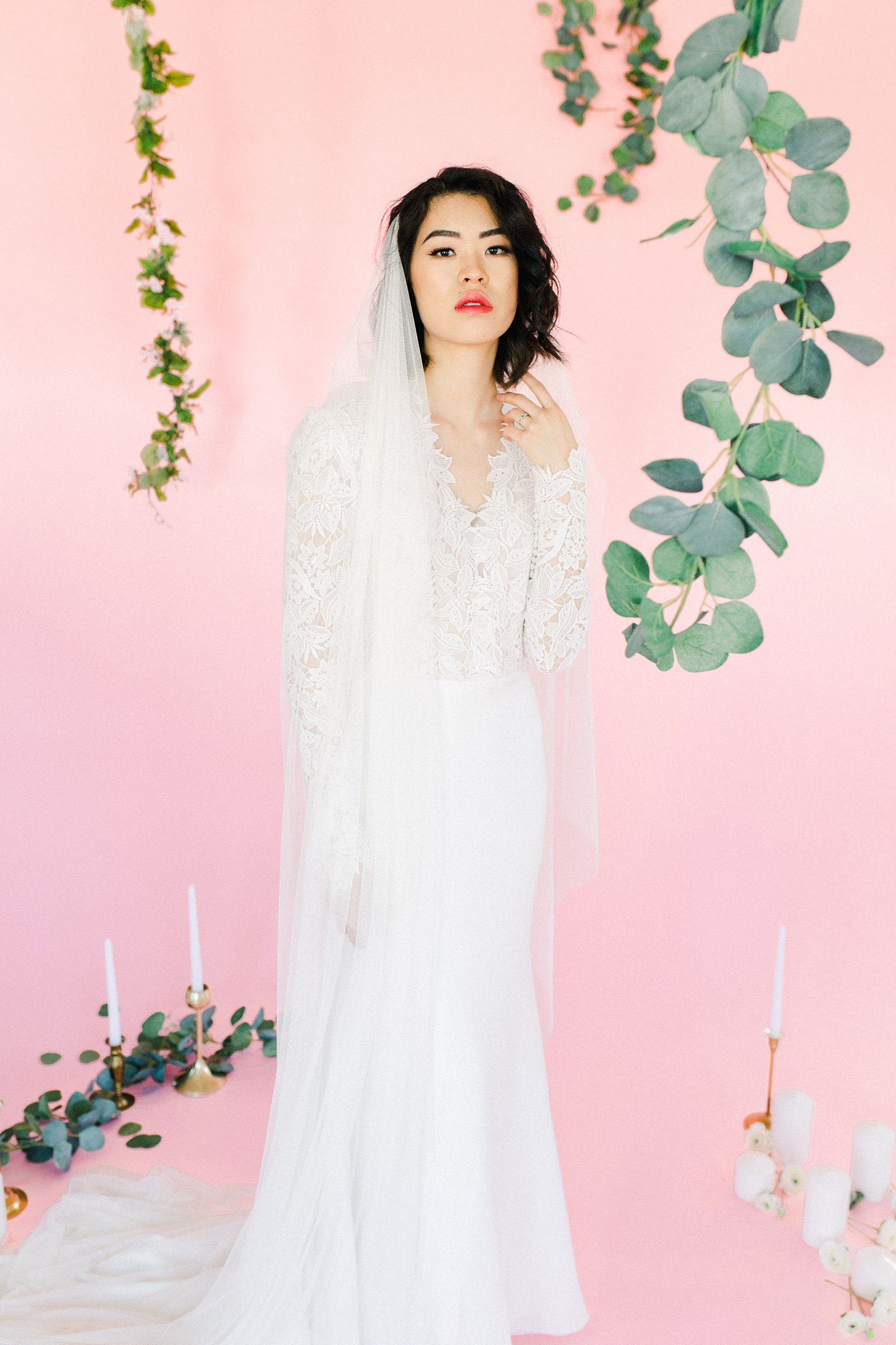 Utah wedding photography inspiration, Lazaro lace v-neck wedding dress with vintage lace and long sleeves, draped long flowy veil