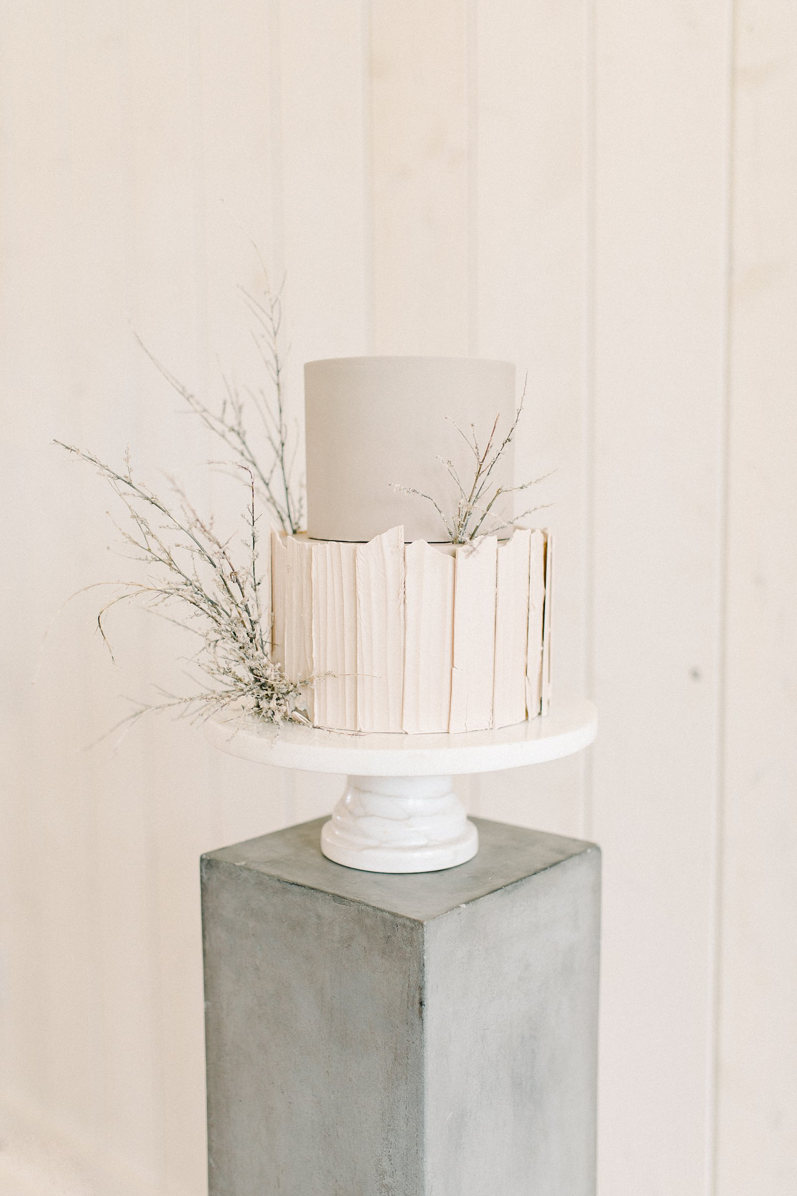 Heber Valley Natural Organic Wedding Inspiration at River Bottoms Ranch, Utah wedding film photography, two tier wedding cake gray and beige with white chocolate layers