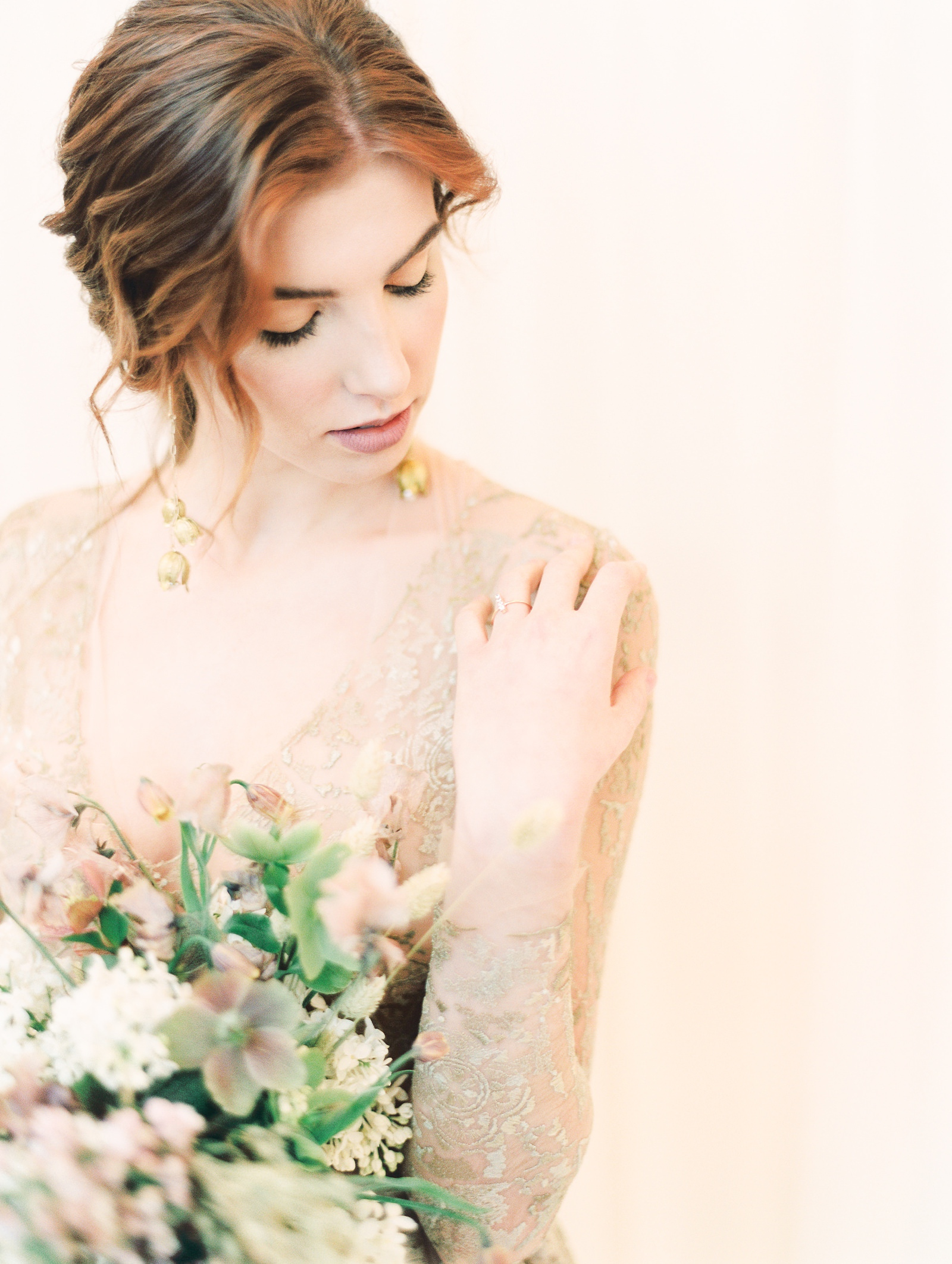 Heber Valley Natural Organic Wedding Inspiration at River Bottoms Ranch, Utah wedding photography, bride with long sleeve sheer lace wedding dress, loose romantic updo hairstyle