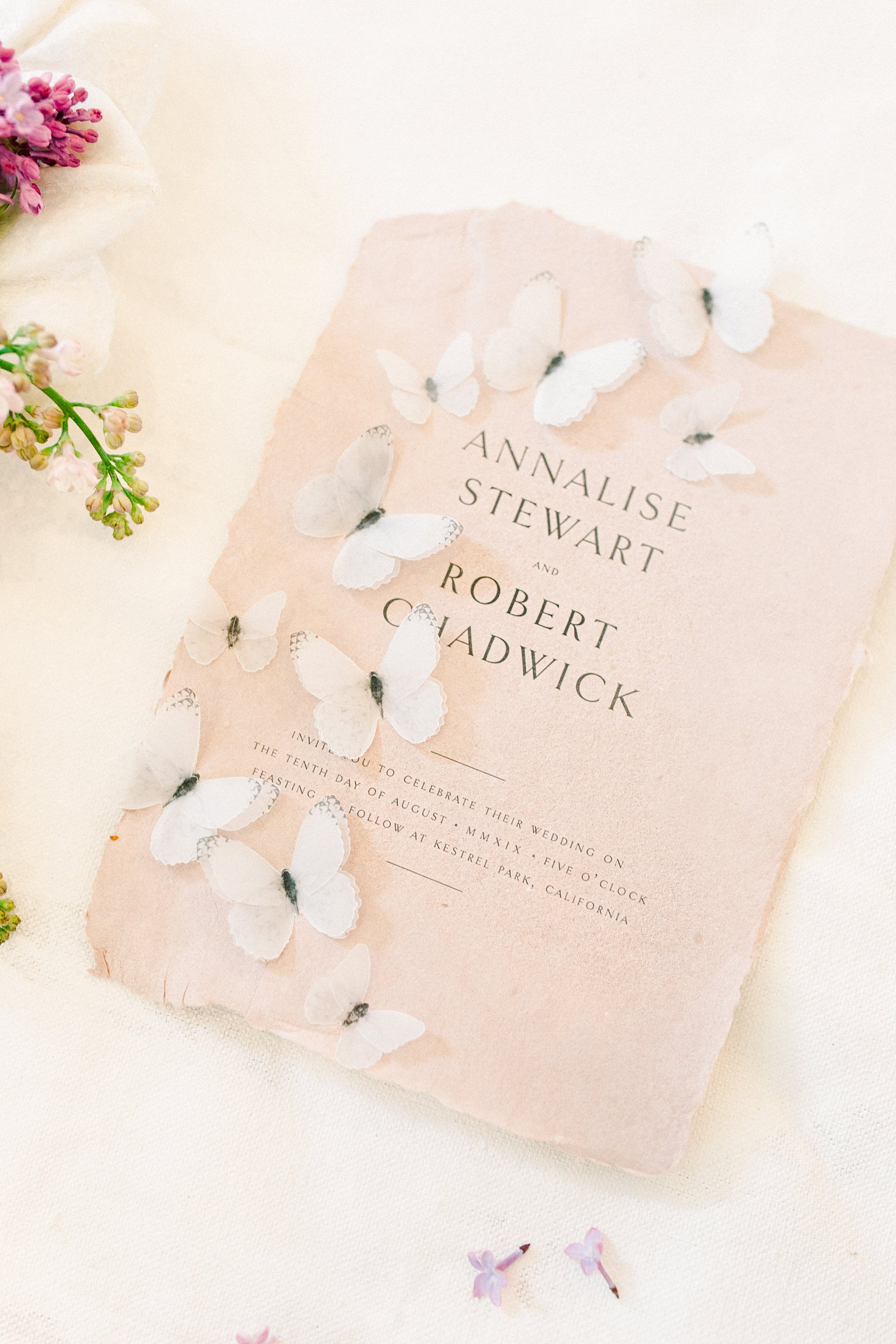 Heber Valley Natural Organic Wedding Inspiration at River Bottoms Ranch, Utah wedding photography, handmade calligraphy wedding invitations suite beige with butterflies