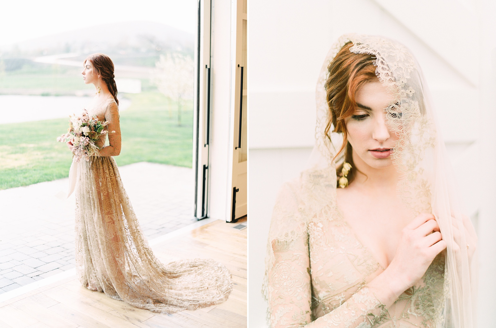 Heber Valley Natural Organic Wedding Inspiration at River Bottoms Ranch, Utah wedding photography, bride with long sleeve sheer lace wedding dress, vintage lace long veil