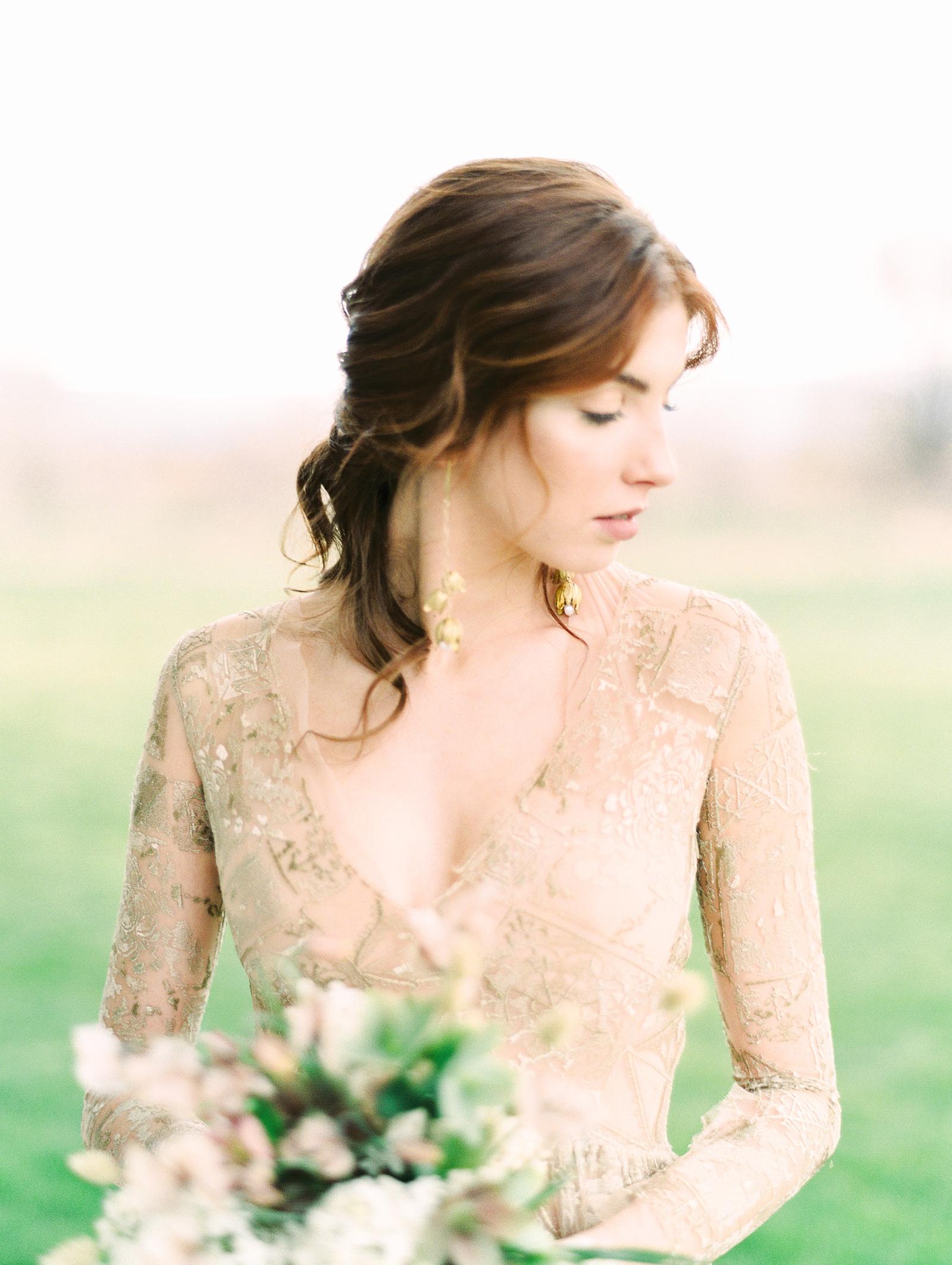Heber Valley Natural Organic Wedding Inspiration at River Bottoms Ranch, Utah wedding photography, bride with long sleeve sheer lace wedding dress