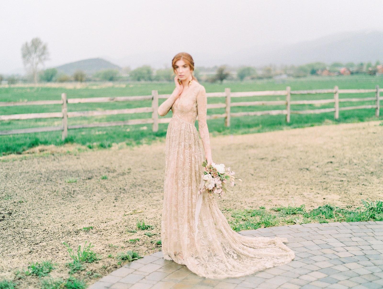 Heber Valley Natural Organic Wedding Inspiration at River Bottoms Ranch, Utah wedding photography, bride with long sleeve sheer lace wedding dress, farm wedding