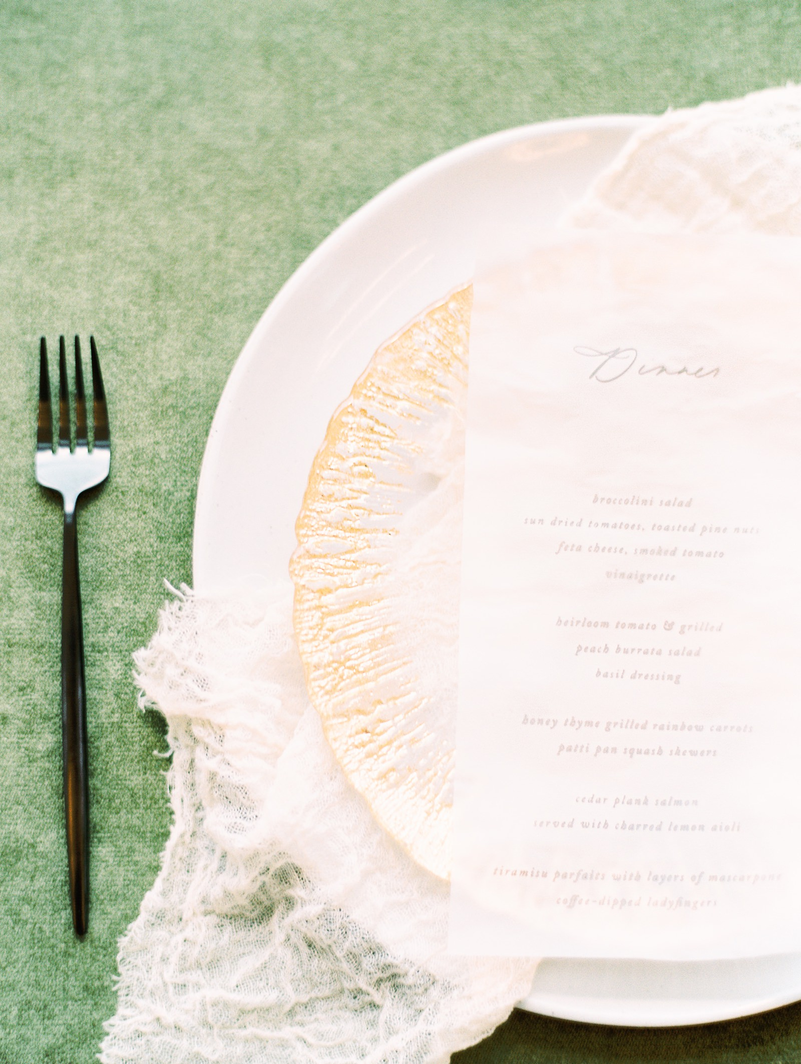 Heber Valley Natural Organic Wedding Inspiration at River Bottoms Ranch, Utah wedding film photography, green tablecloth calligraphy dinner menu gold charger place setting
