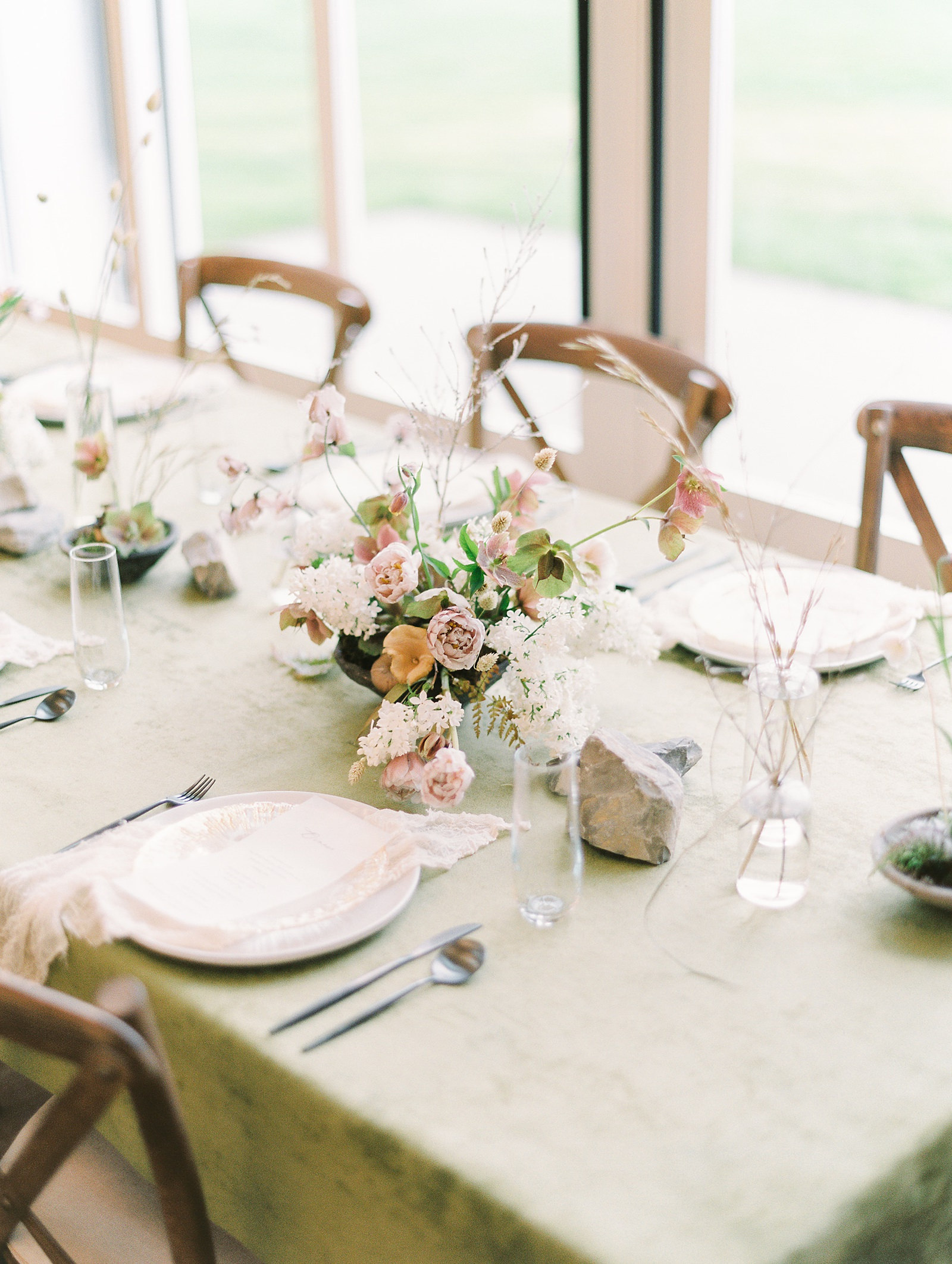 Heber Valley Natural Organic Wedding Inspiration at River Bottoms Ranch, Utah wedding film photography, green tablecloth wedding flower centerpiece with place settings