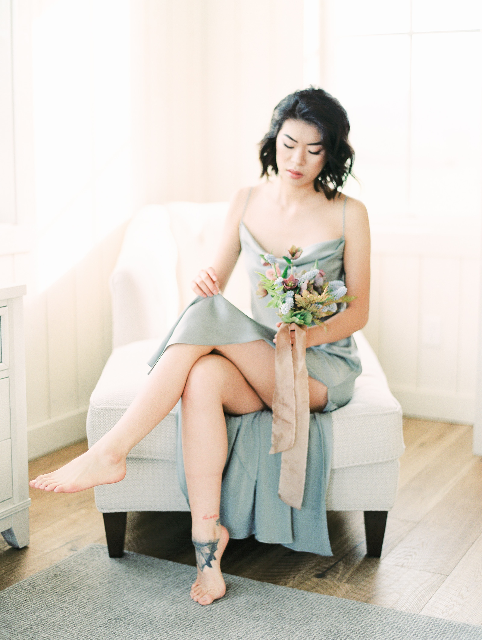 Heber Valley Classic and Clean bridal boudoir at River Bottoms Ranch, Utah film photography, blue silk nightgown