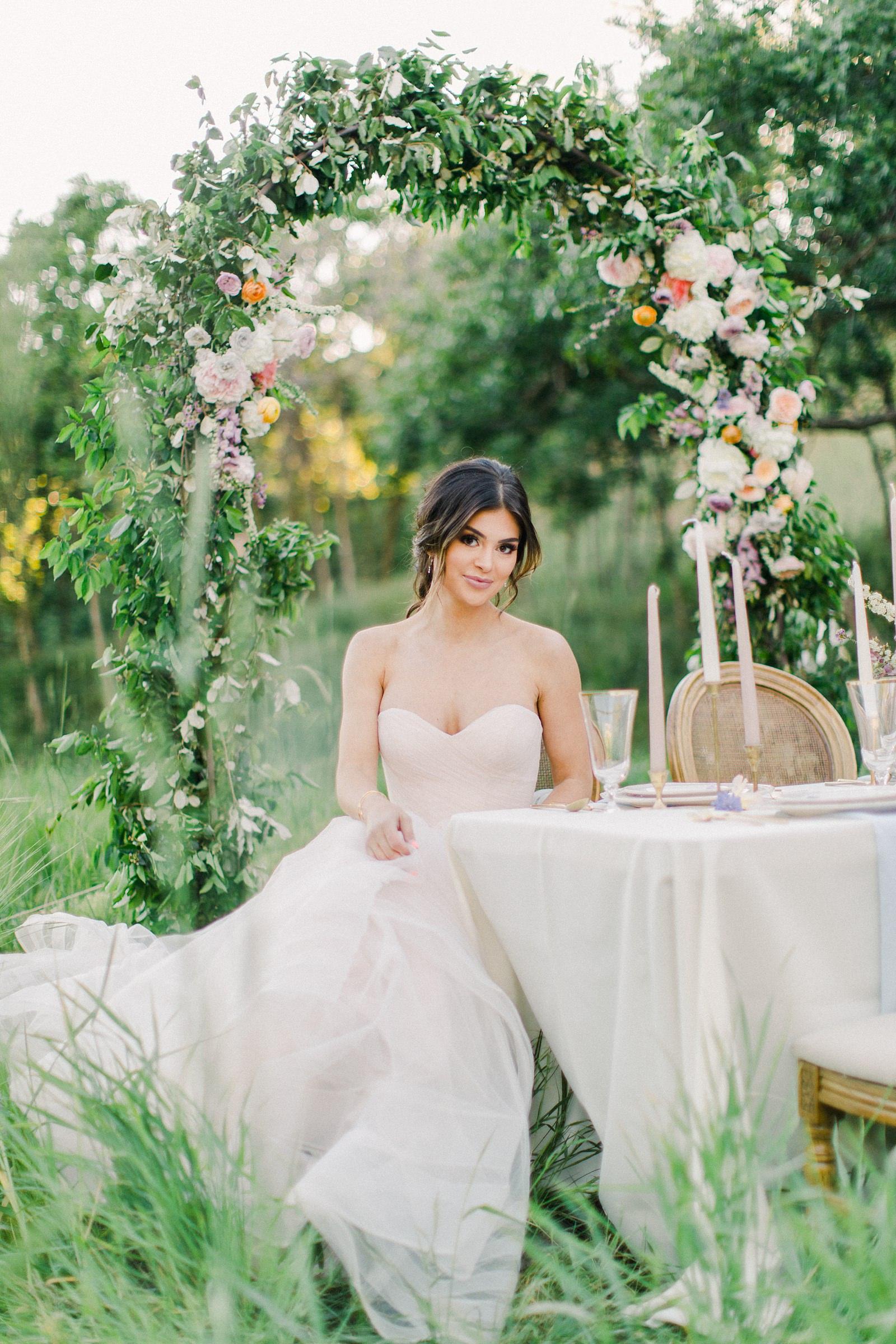 Outdoor Spring Secret Garden Wedding, Provo Utah Film Wedding Photography, floral arch wedding flowers simple white tablescape