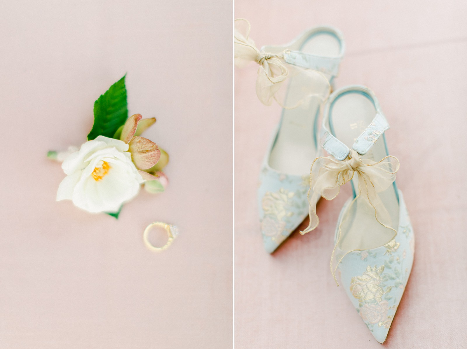 French pastel wedding , blue embroidered bride shoes, fine art film wedding photography