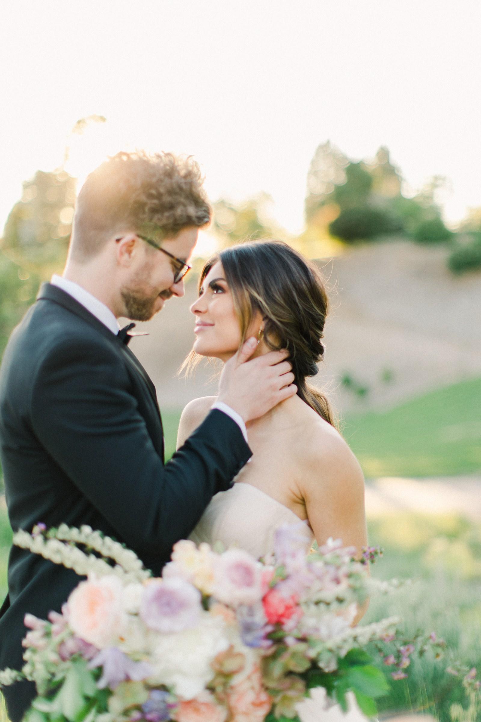 Outdoor Spring Secret Garden Wedding, Provo Utah Film Wedding Photography, pastel wildflower bouquet purple wedding flowers, bride and groom golden hour sunset light