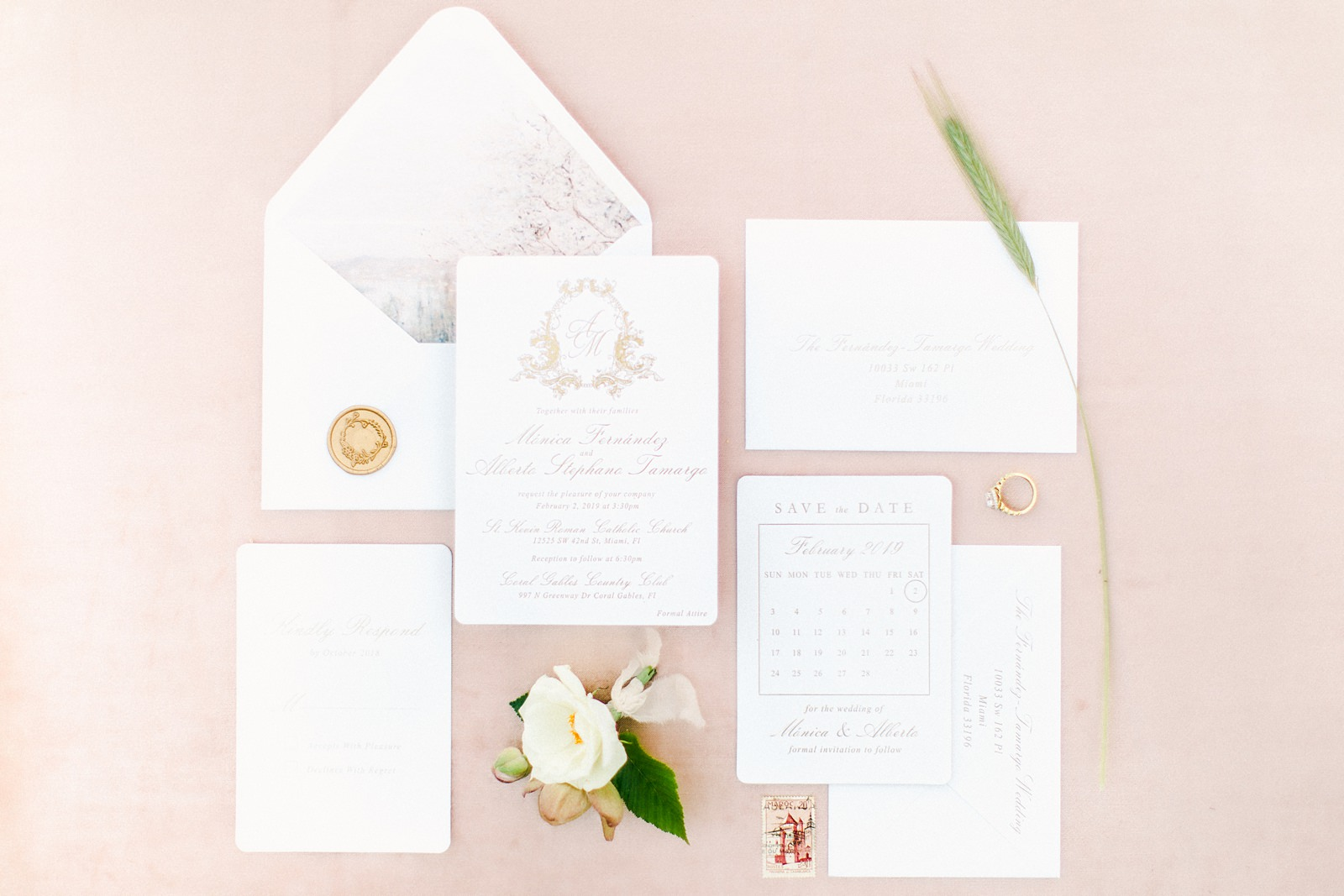 French pastel wedding invitation suite, watercolor envelope liner, fine art film wedding photography