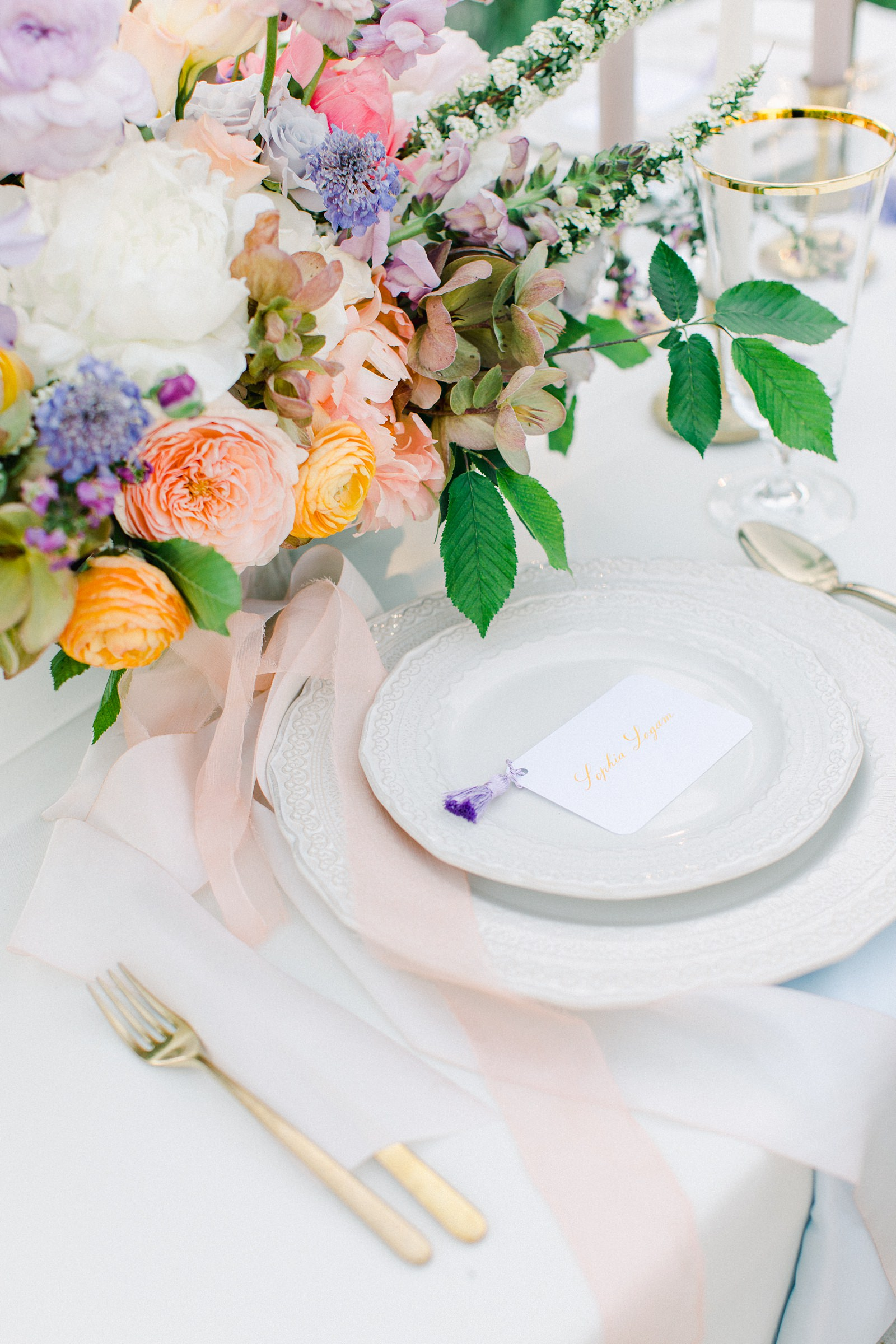 Outdoor Spring Secret Garden Wedding, Provo Utah Film Wedding Photography, colorful floral centerpiece wedding flowers simple white tablescape, place setting calligraphy place card