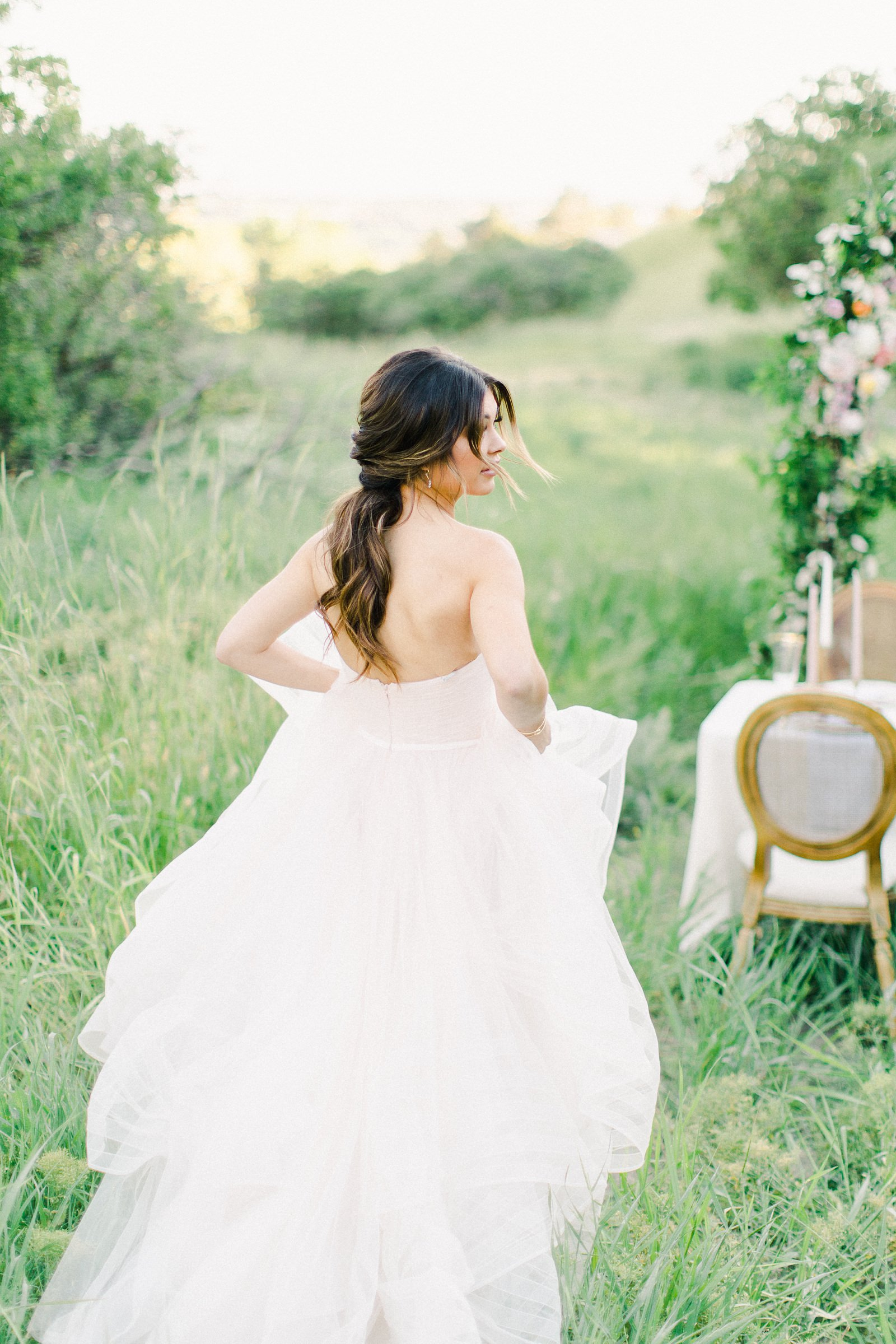 Outdoor Spring Secret Garden Wedding, Provo Utah Film Wedding Photography, bride in ball gown with full tulle skirt