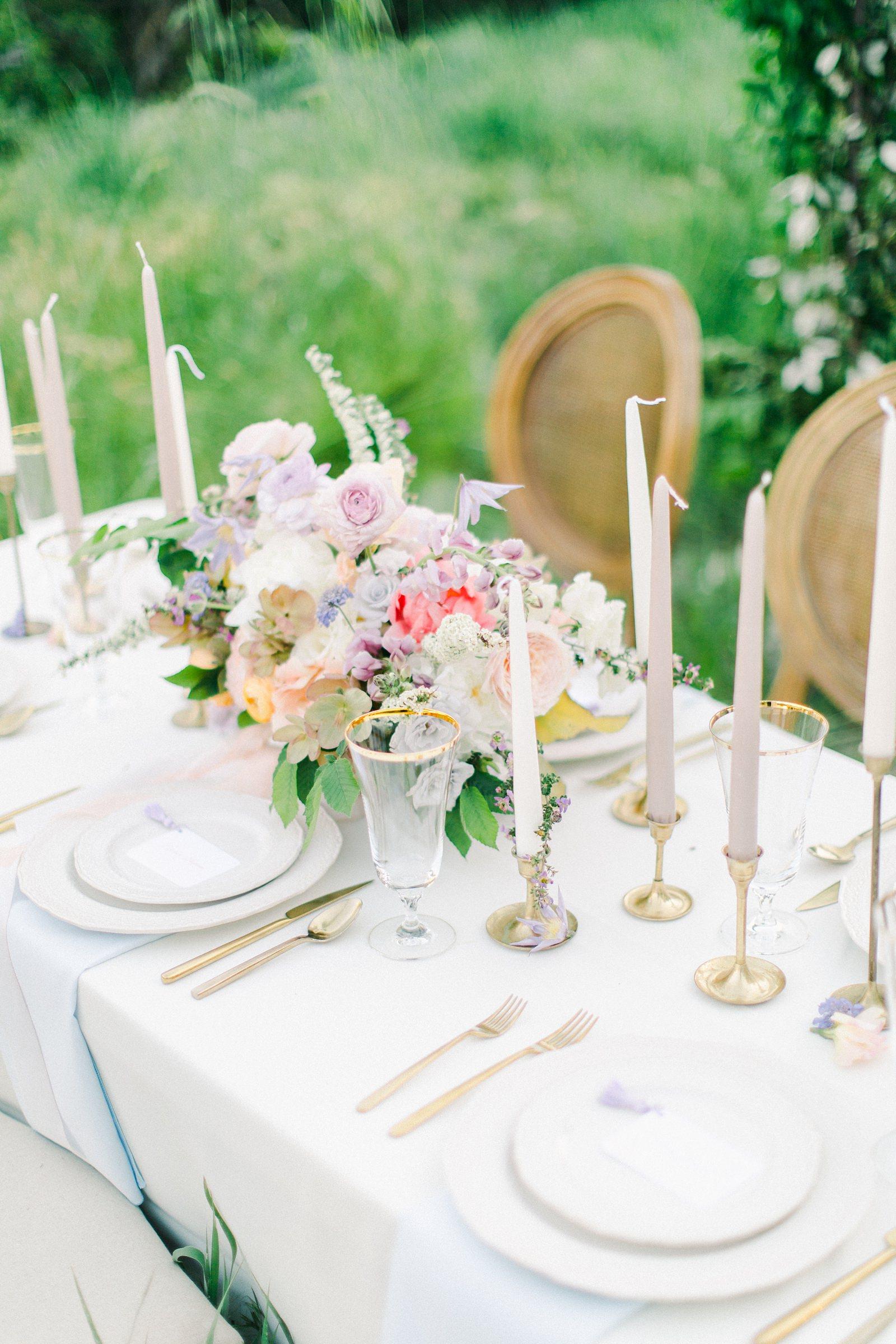 Outdoor Spring Secret Garden Wedding, Provo Utah Film Wedding Photography, colorful floral centerpiece wedding flowers simple white tablescape