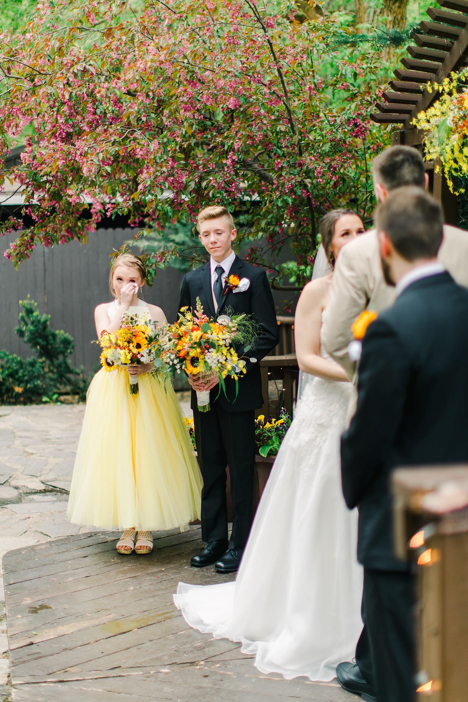 Millcreek Inn Summer Wedding, Utah wedding photography Millcreek Canyon, Salt Lake City, mountain ceremony, yellow bridesmaid dress, sunflower bouquet flowers