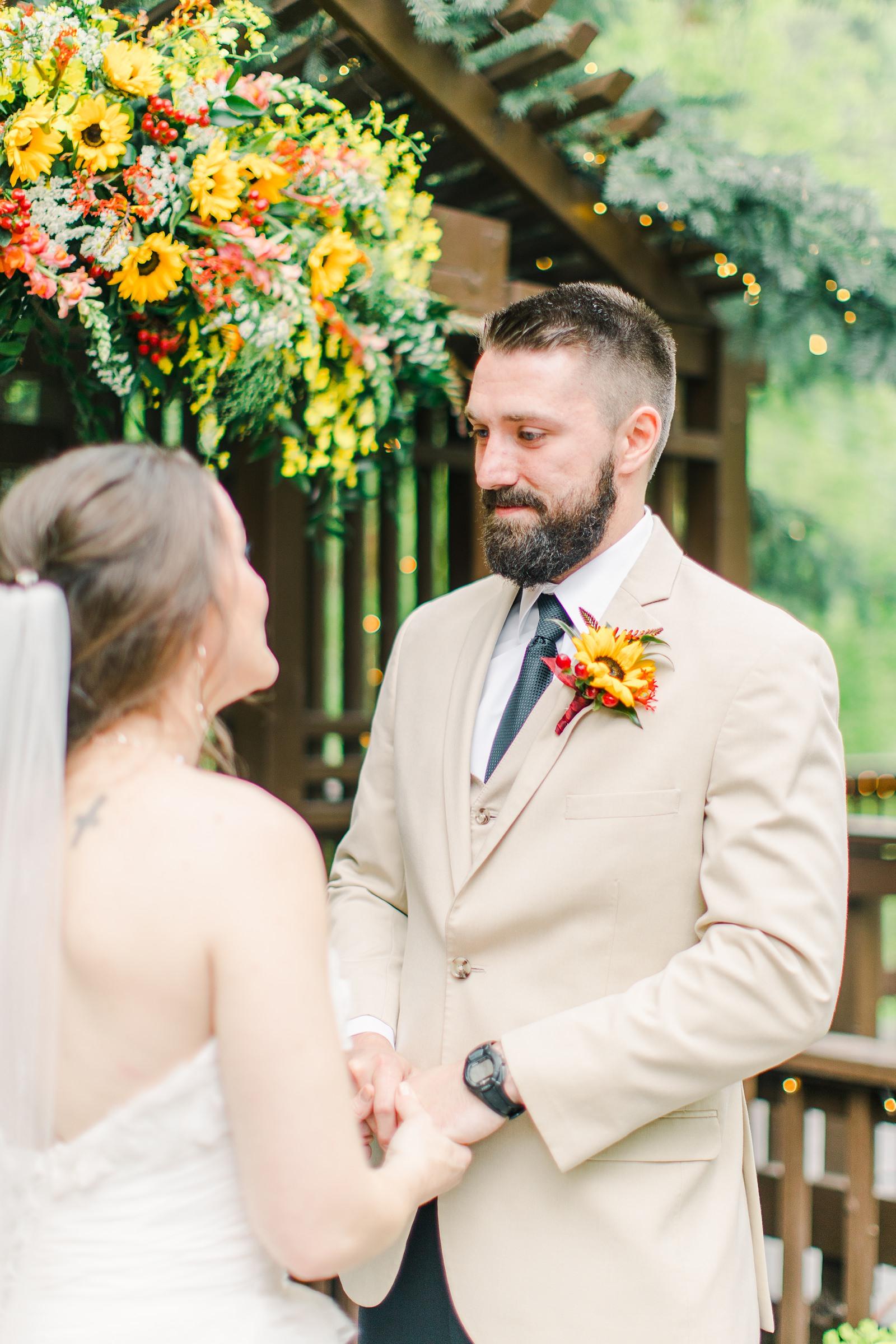 Millcreek Inn Summer Wedding, Utah wedding photography Millcreek Canyon, Salt Lake City, mountain ceremony, groom's vows