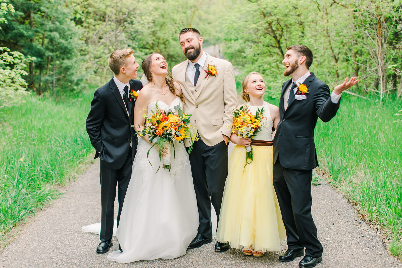 Millcreek Inn Summer Wedding, Utah wedding photography Millcreek Canyon, Salt Lake City, yellow bridesmaid dress, sunflower bouquet flowers