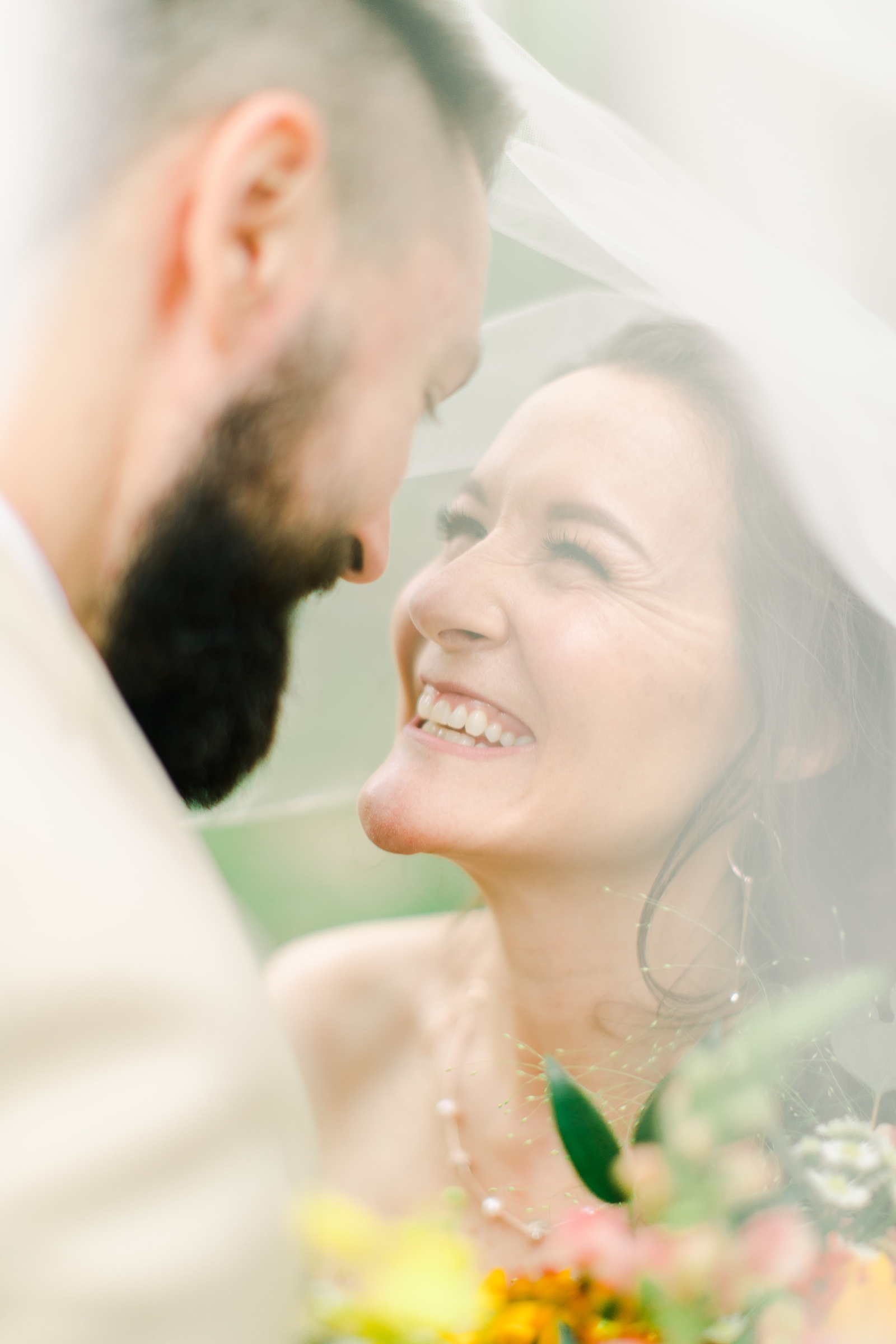 Millcreek Inn Summer Wedding, Utah wedding photography Millcreek Canyon, Salt Lake City, bride and groom under long veil