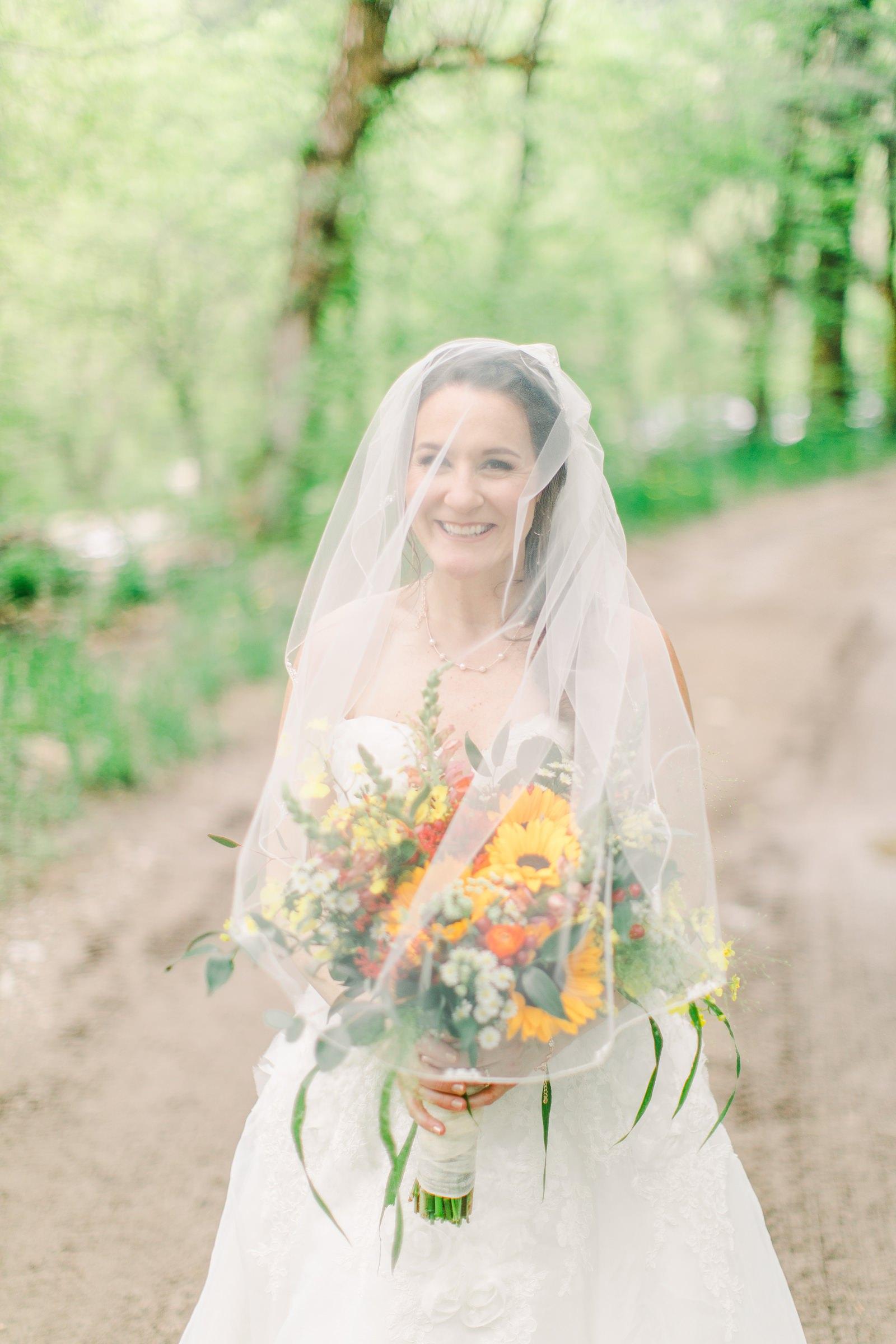 Millcreek Inn Summer Wedding, Utah wedding photography Millcreek Canyon, Salt Lake City, bride under long veil