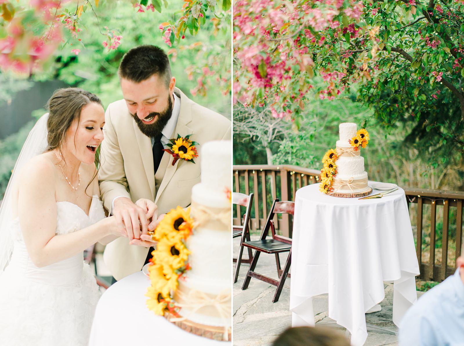 Millcreek Inn Summer Wedding, Utah wedding photography Millcreek Canyon, Salt Lake City, bride and groom cutting cake
