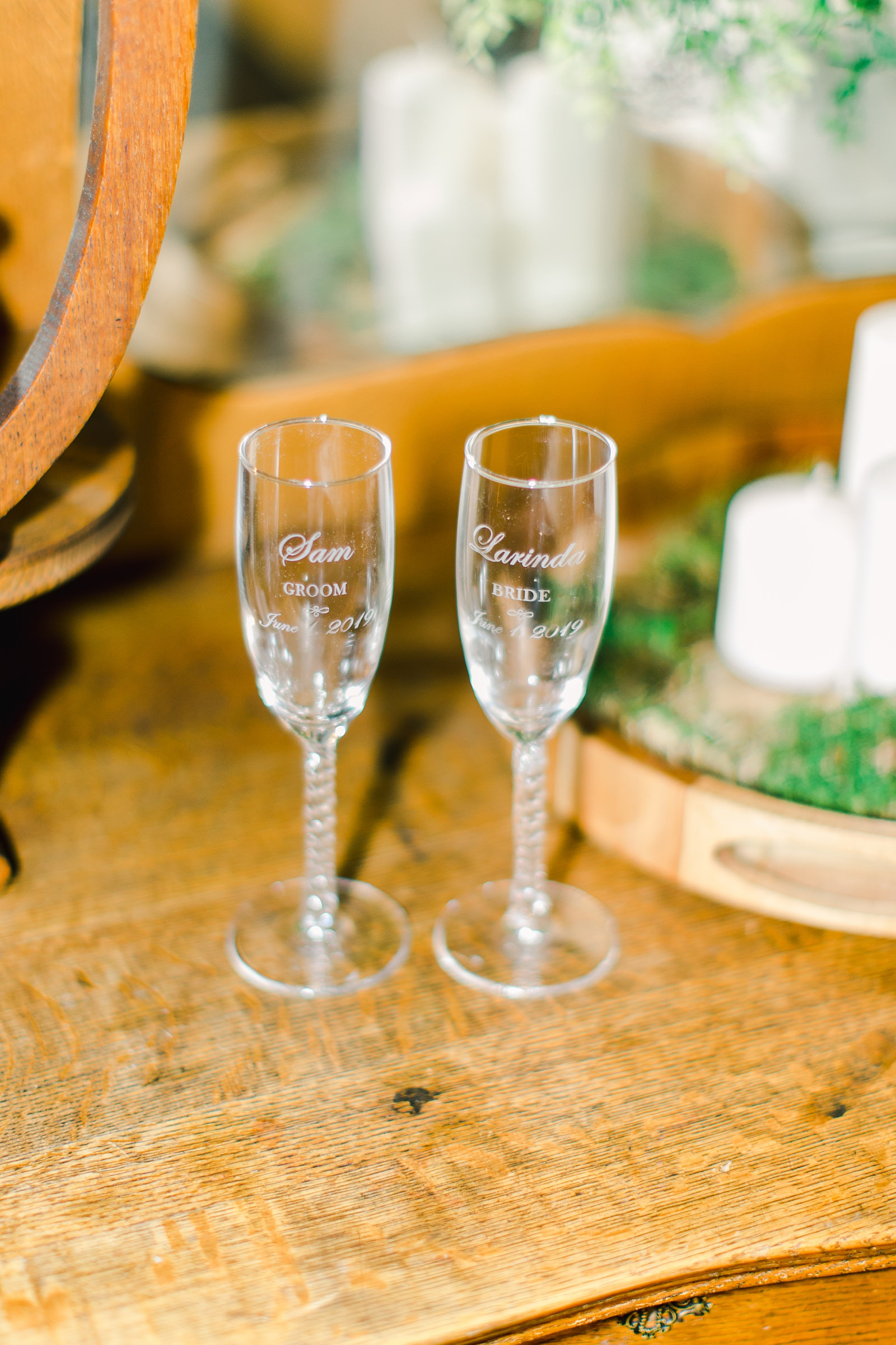 Millcreek Inn Summer Wedding, Utah wedding photography Millcreek Canyon, Salt Lake City, bride and groom toasting glasses personalized
