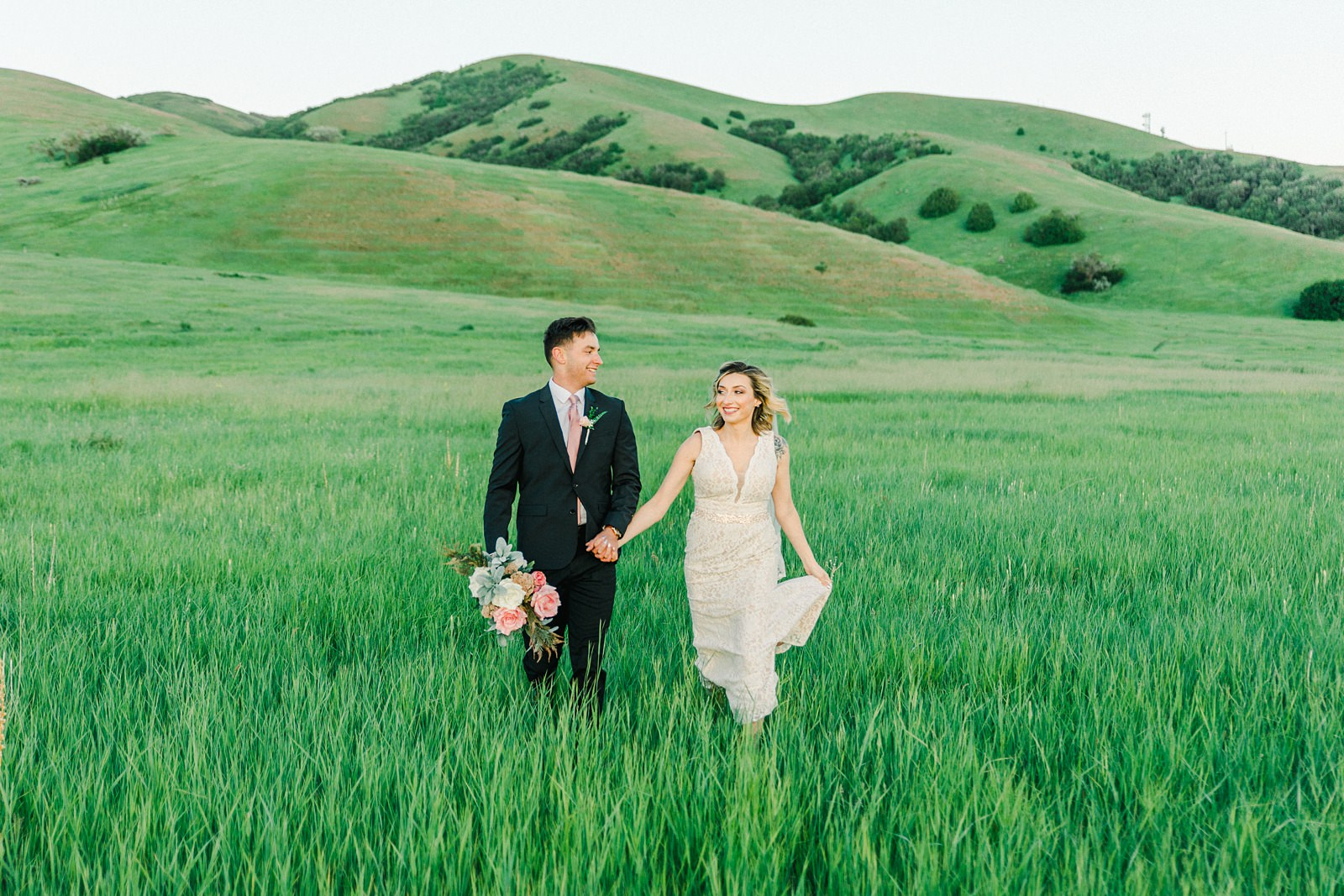 Salt Lake City Utah Bridal Wedding Photography, Tunnel Springs Park, bride and groom in open green field