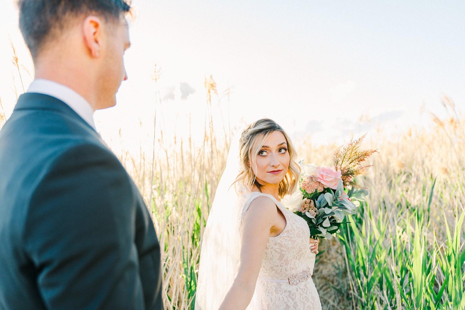 Salt Lake City Utah Bridal Wedding Photography, Tunnel Springs Park, bride and groom golden sunset light