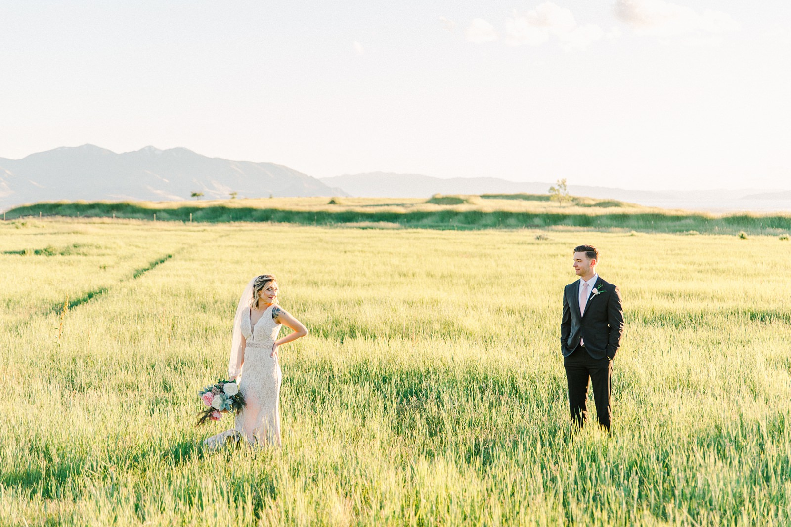 Salt Lake City Utah Bridal Wedding Photography, Tunnel Springs Park, bride and groom in open golden field
