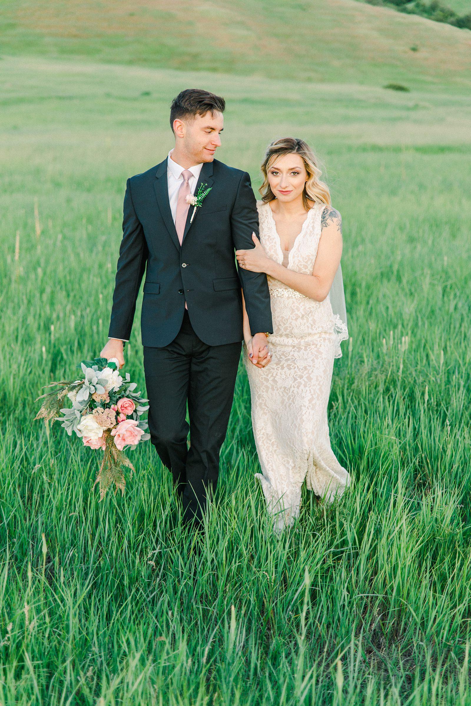 Salt Lake City Utah Bridal Wedding Photography, Tunnel Springs Park, bride and groom in open green field