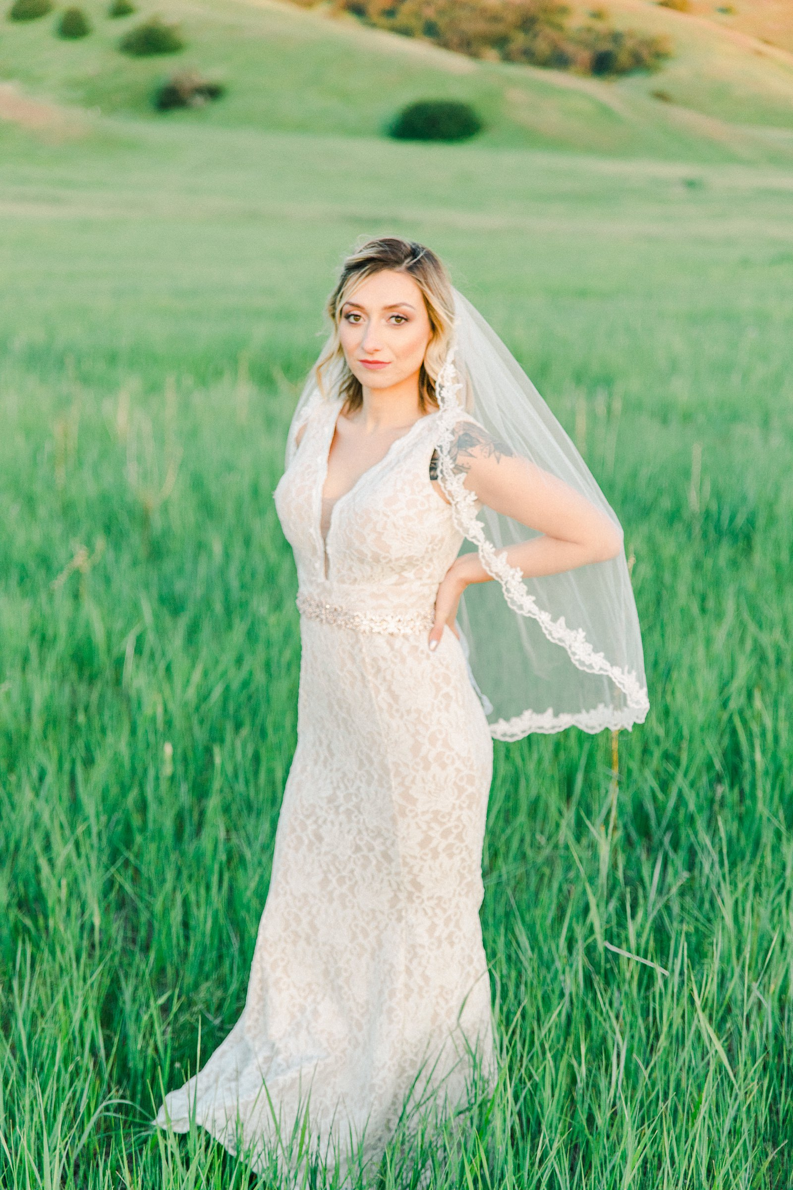 Salt Lake City Utah Bridal Wedding Photography, Tunnel Springs Park, bride wedding dress vintage lace dress with fingertip veil, open green field