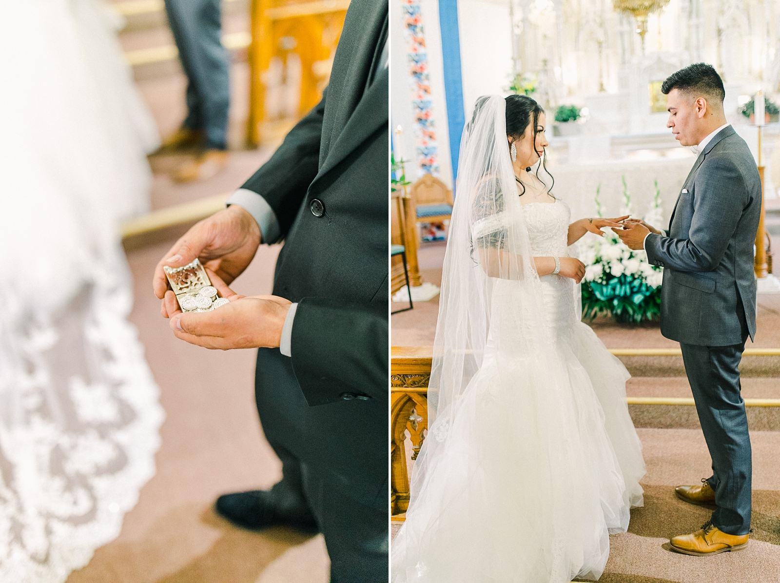 Cache Valley Logan Traditional Catholic Wedding Ceremony in a cathedral, Utah wedding photography, ring exchange