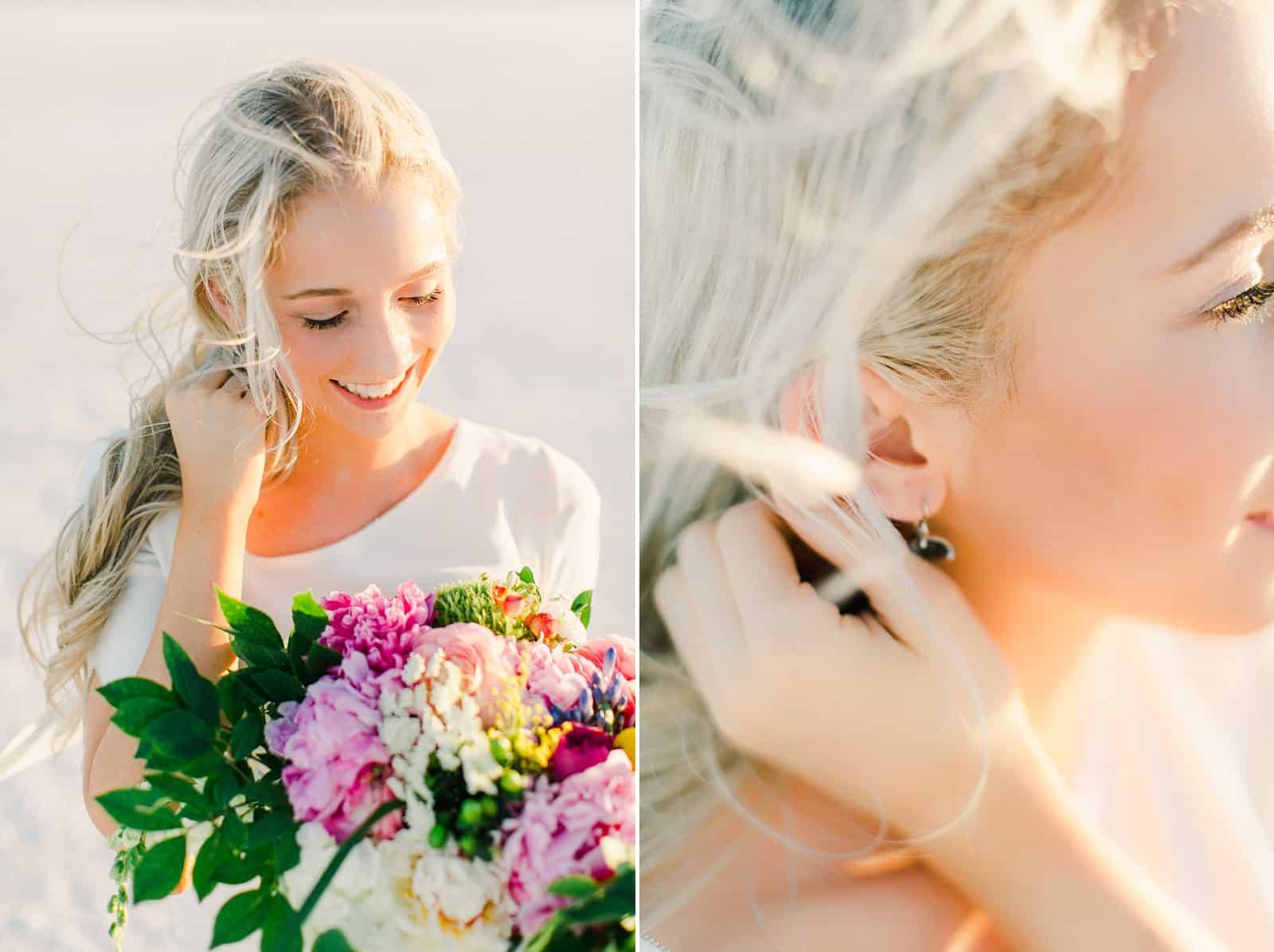 Bonneville Salt Flats Utah Wedding Photography, destination wedding, bride in modern simple white wedding dress, boho bride, pink and white wedding bouquet