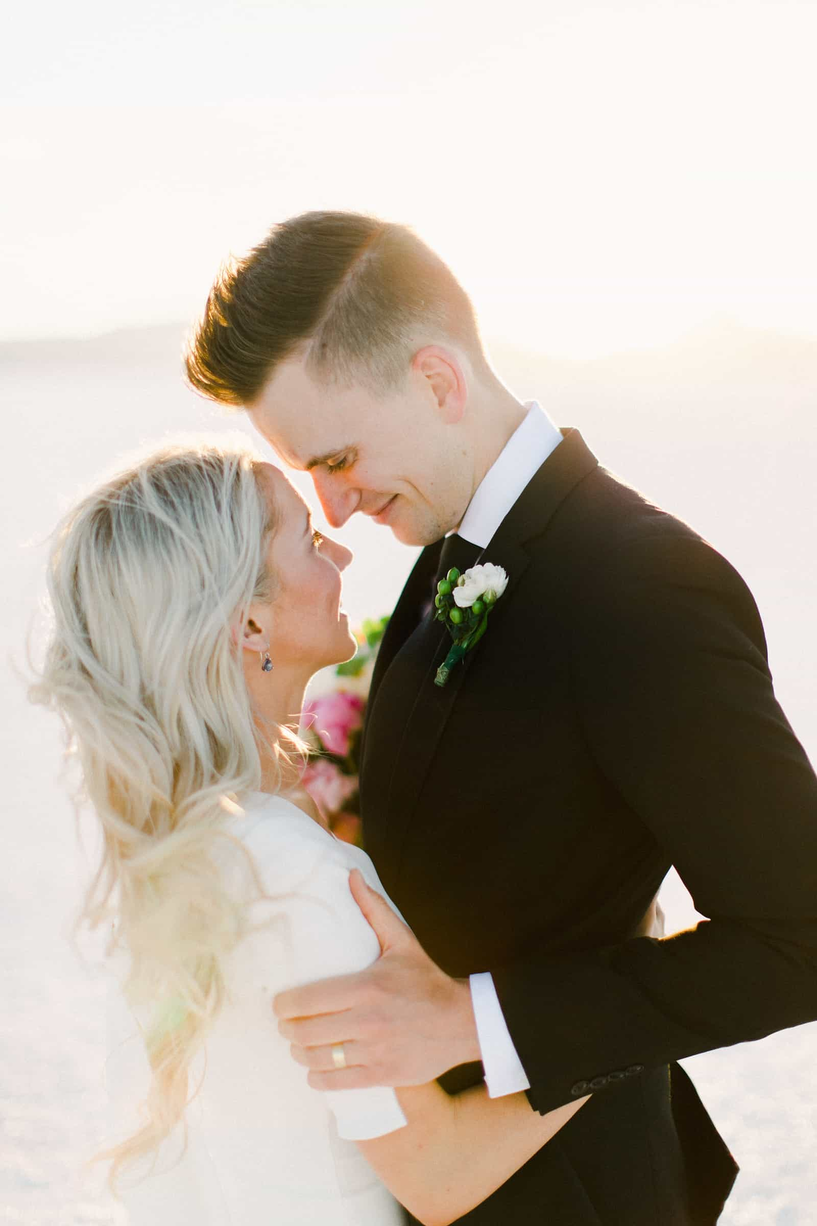 Bonneville Salt Flats Utah Wedding Photography, destination wedding, bride and groom first look
