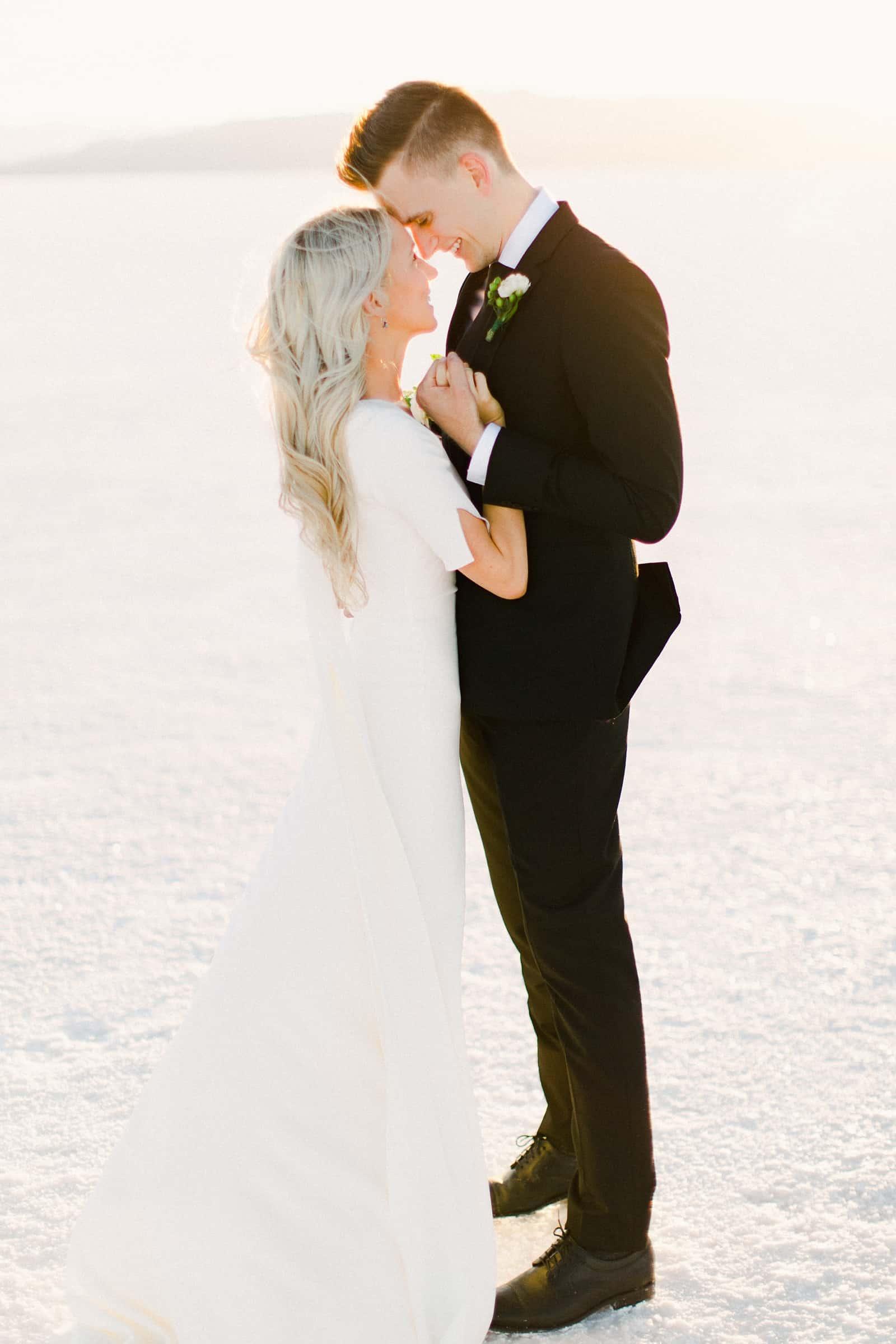 Bonneville Salt Flats Utah Wedding Photography, destination wedding, bride and groom first look, pose for wedding couple