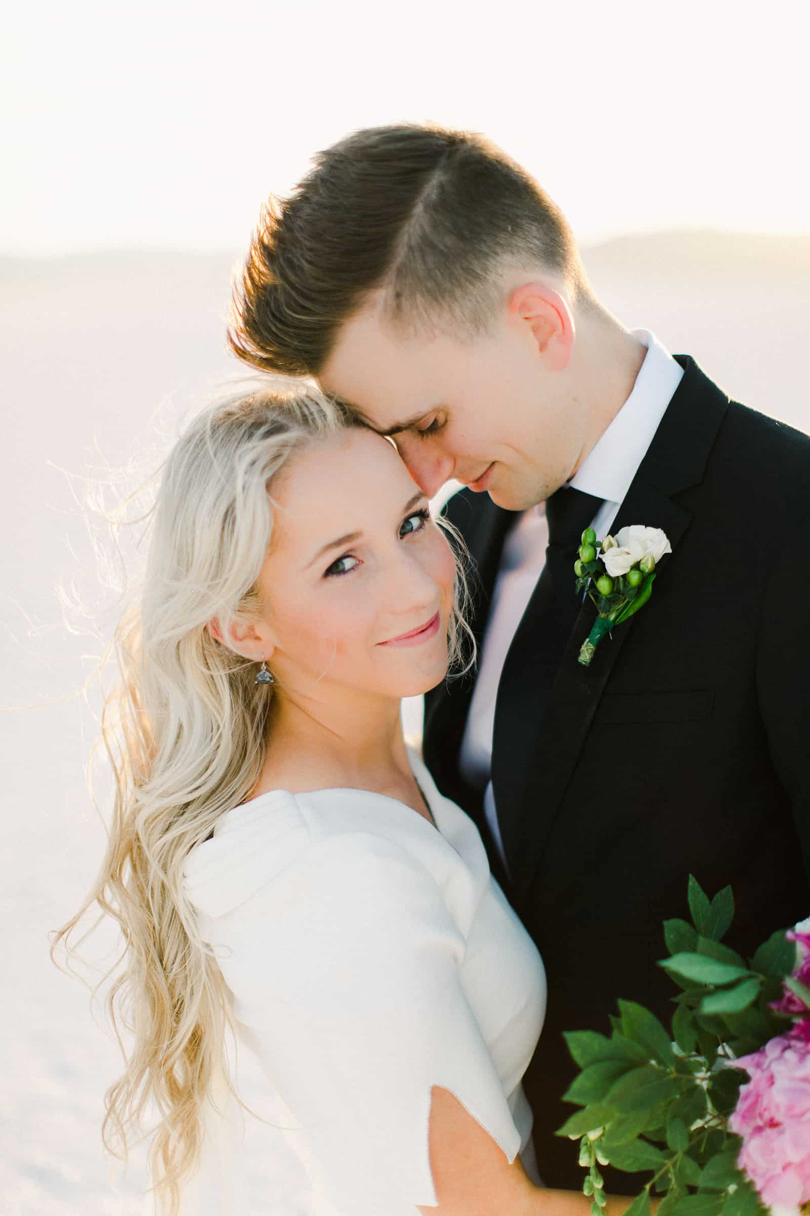 Bonneville Salt Flats Utah Wedding Photography, destination wedding, bride and groom first look, beautiful bride, long bridal hairstyle