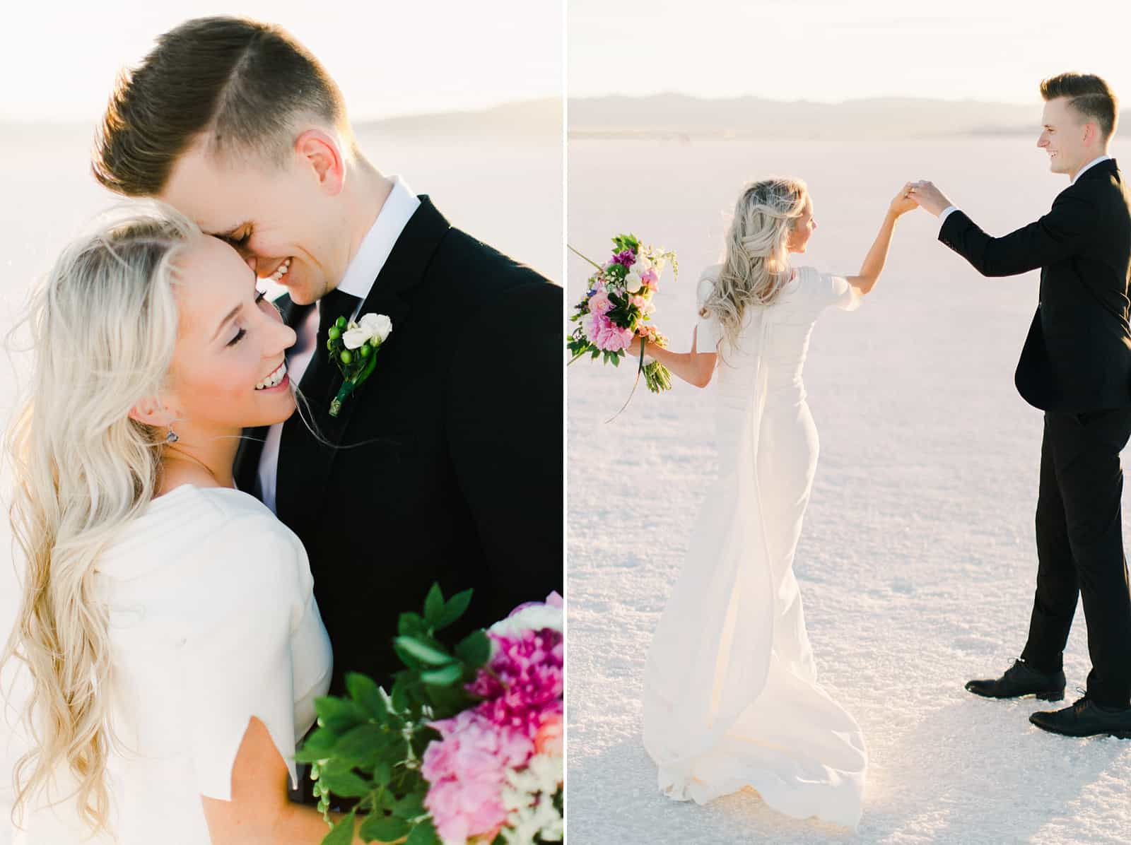 Bonneville Salt Flats Utah Wedding Photography, destination wedding, bride and groom dancing