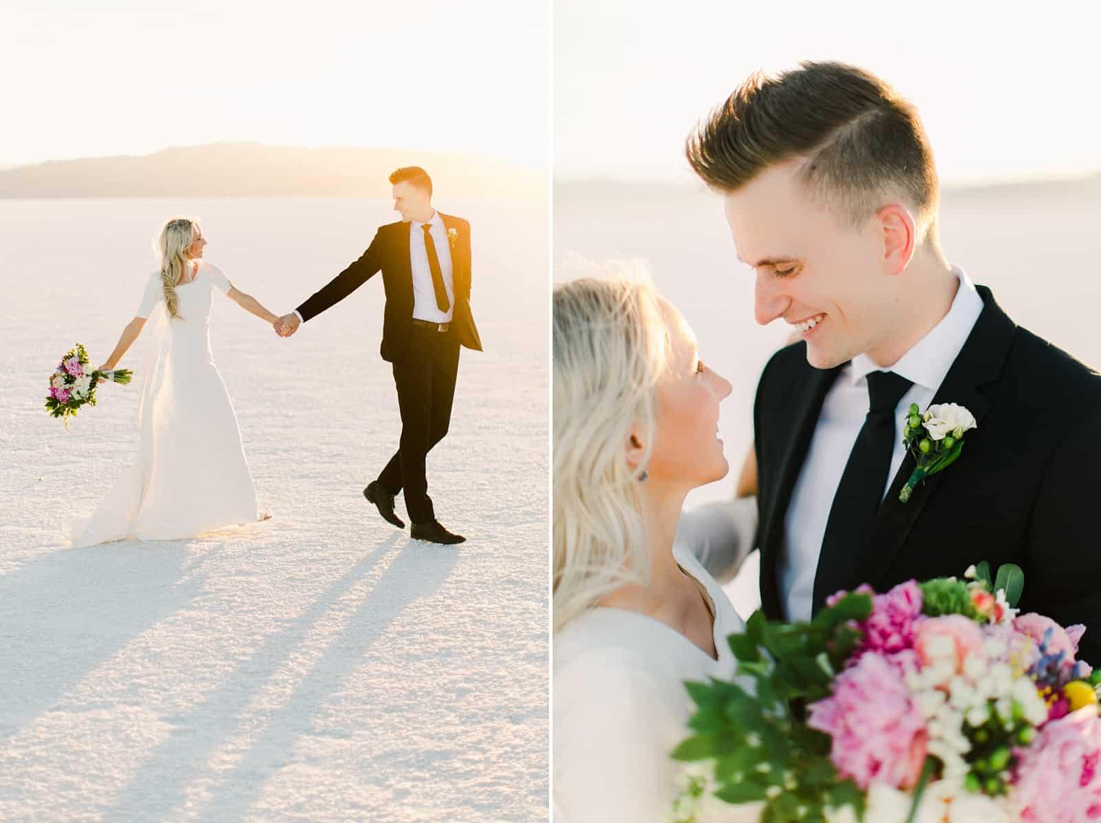 Bonneville Salt Flats Utah Wedding Photography, destination wedding, bride and groom golden sunset light