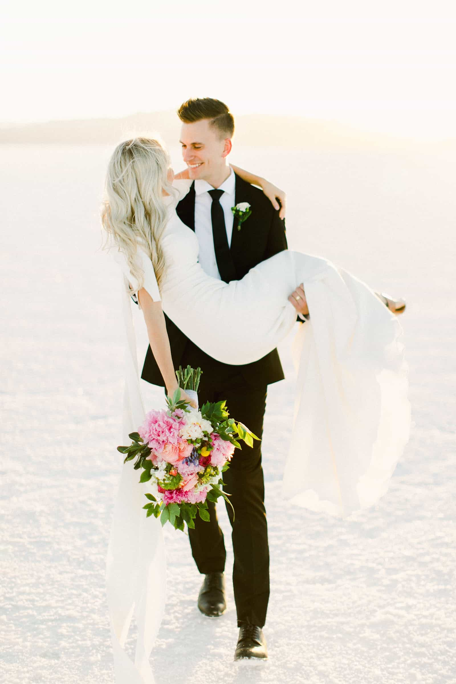Bonneville Salt Flats Utah Wedding Photography, destination wedding, modern bride and groom golden sunset light