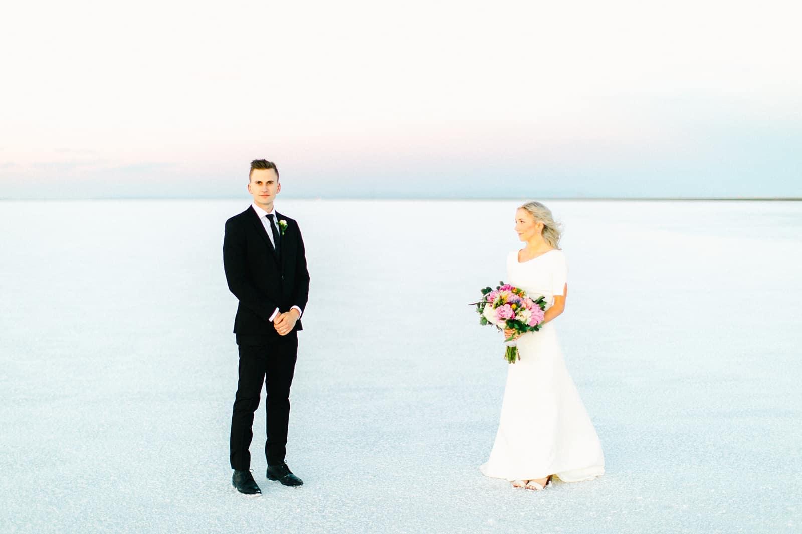 Bonneville Salt Flats Utah Wedding Photography, destination wedding, light and airy film photography
