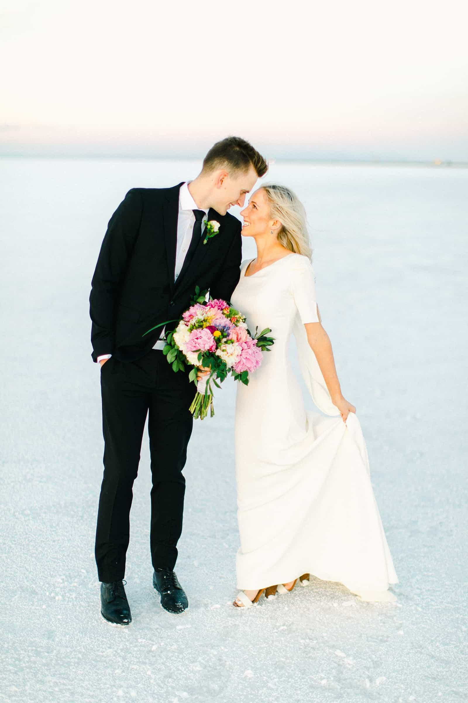 Bonneville Salt Flats Utah Wedding Photography, destination wedding, light and airy film photography bride and groom