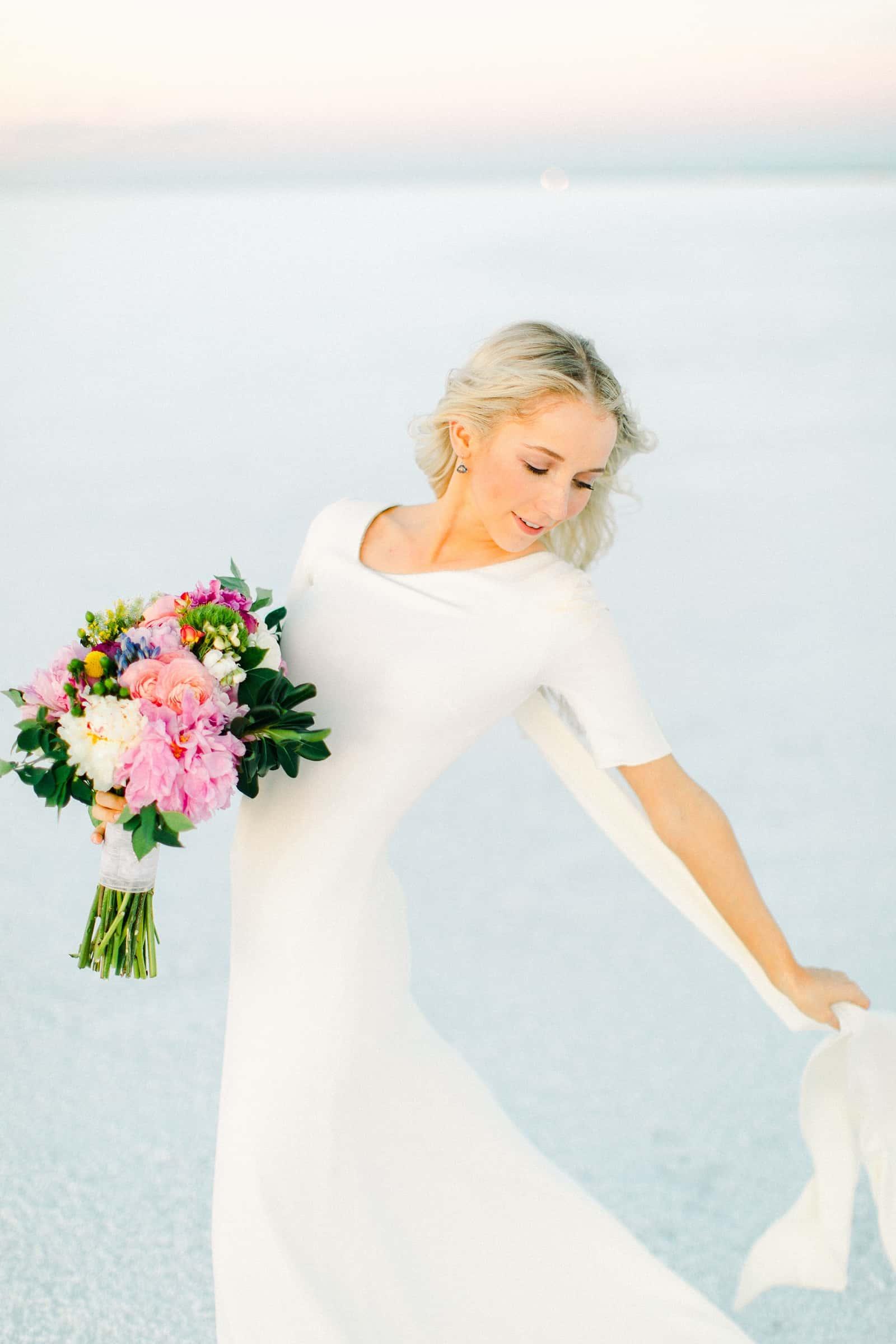 Bonneville Salt Flats Utah Wedding Photography, destination wedding, light and airy film photography, modern bride with simple sleek wedding dress