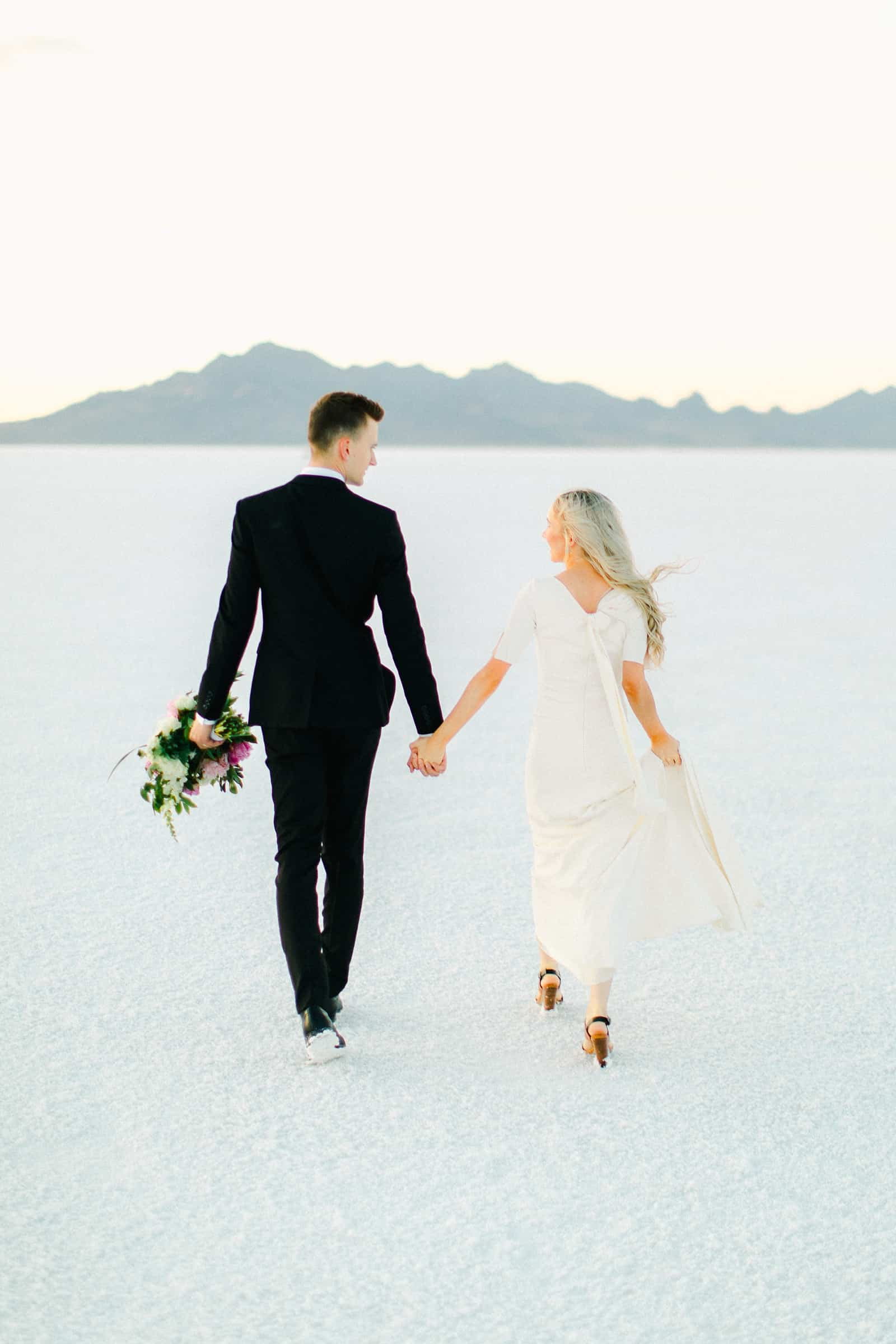 Bonneville Salt Flats Utah Wedding Photography, destination wedding, light and airy film photography bride and groom