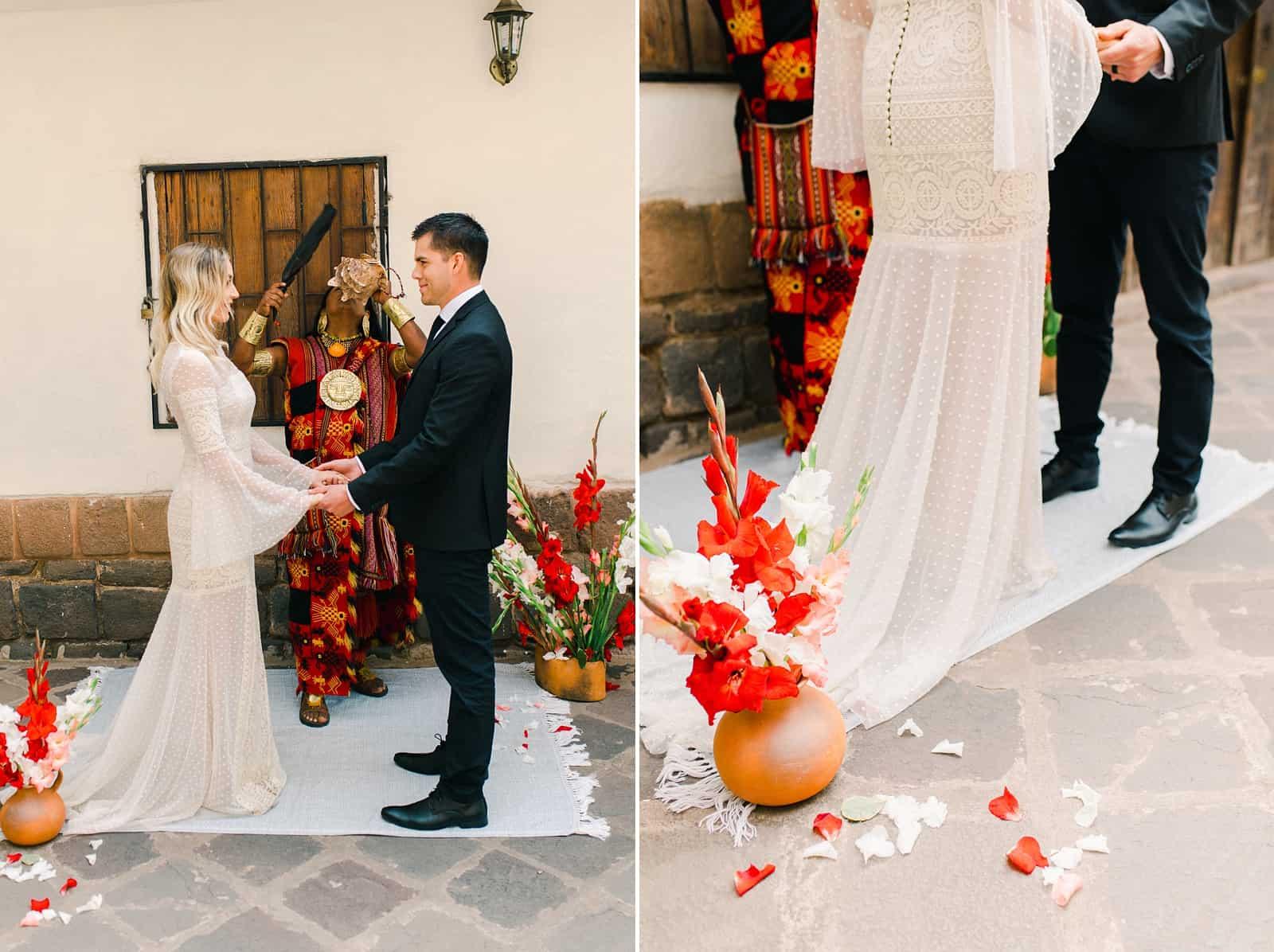 Cusco Peru Destination Wedding, travel wedding photography, Plaza de Armas ceremony with shaman, red flowers boho wedding