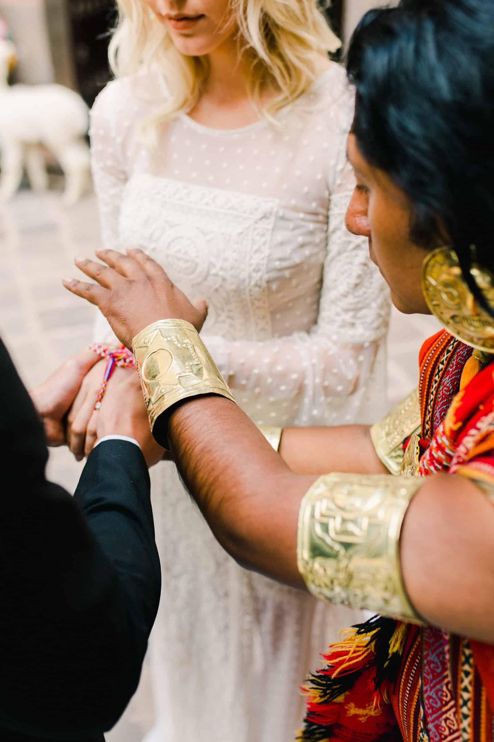 Cusco Peru Destination Wedding, travel wedding photography, Plaza de Armas ceremony with shaman boho wedding