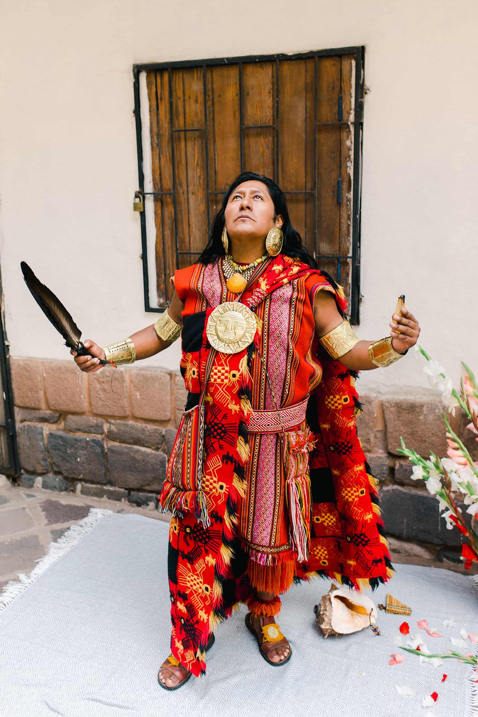 Cusco Peru Destination Wedding, travel wedding photography, Plaza de Armas ceremony with shaman officiant