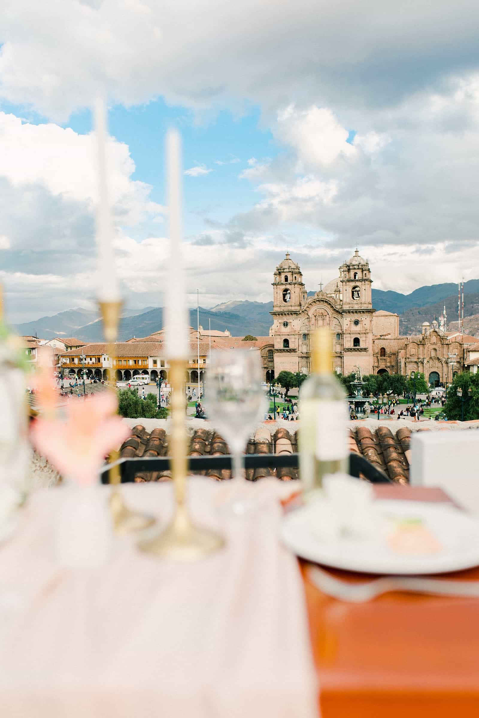 Cusco Peru Destination Wedding Inspiration, travel photography, wedding dinner overlooking Cusco Cathedral