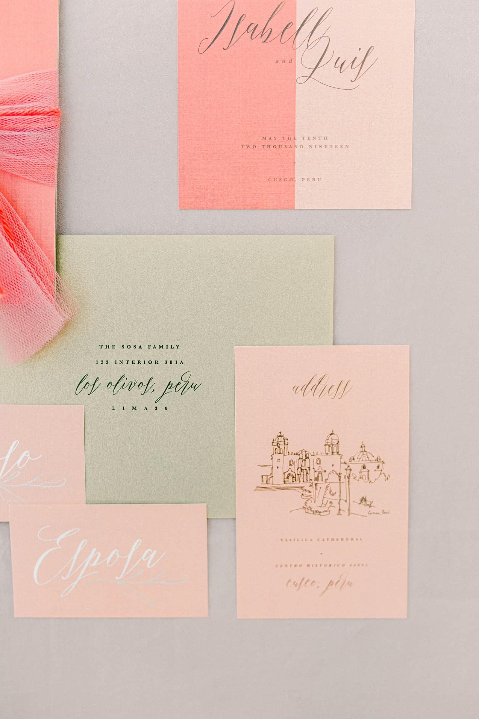 Cusco Peru Destination Wedding Inspiration, travel photography, pink blush tablecloth, pink and blush wedding invitation suite, calligraphy wedding invitations with hand drawn details