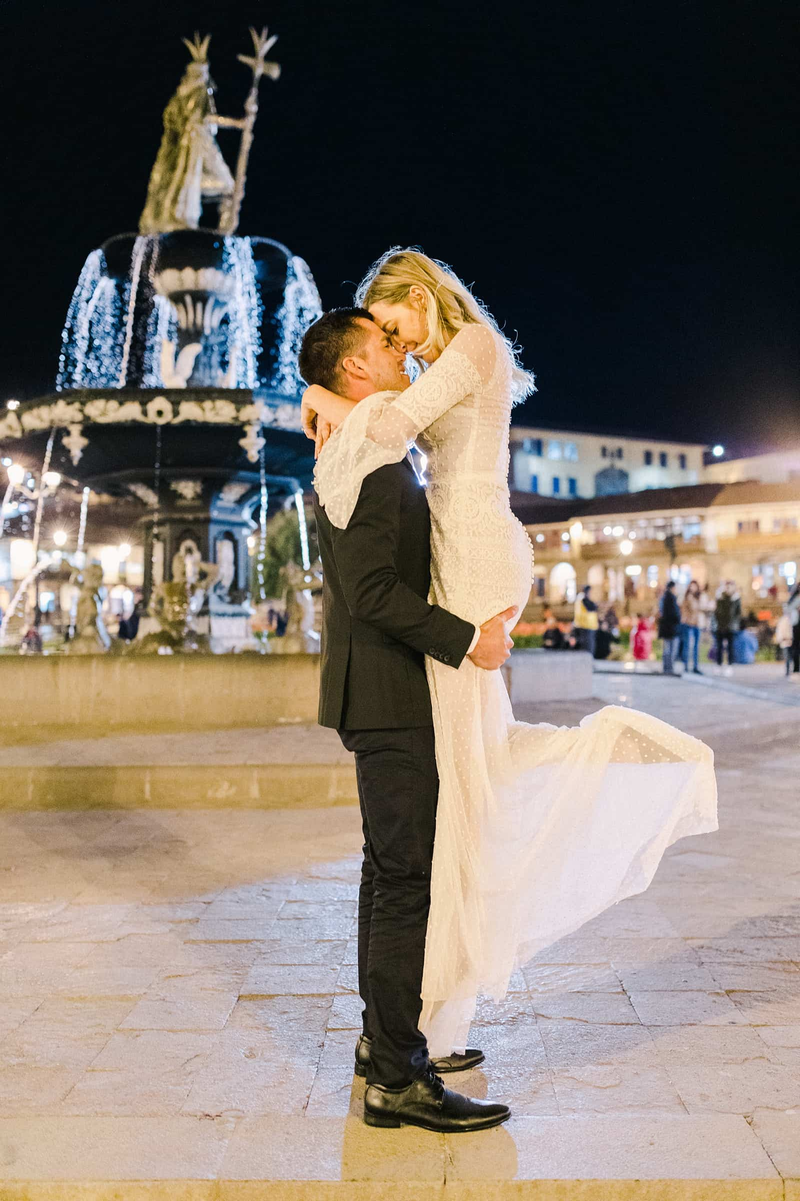 Cusco Peru Destination Wedding Inspiration, travel photography, bride and groom dance at Plaza de Armas at night